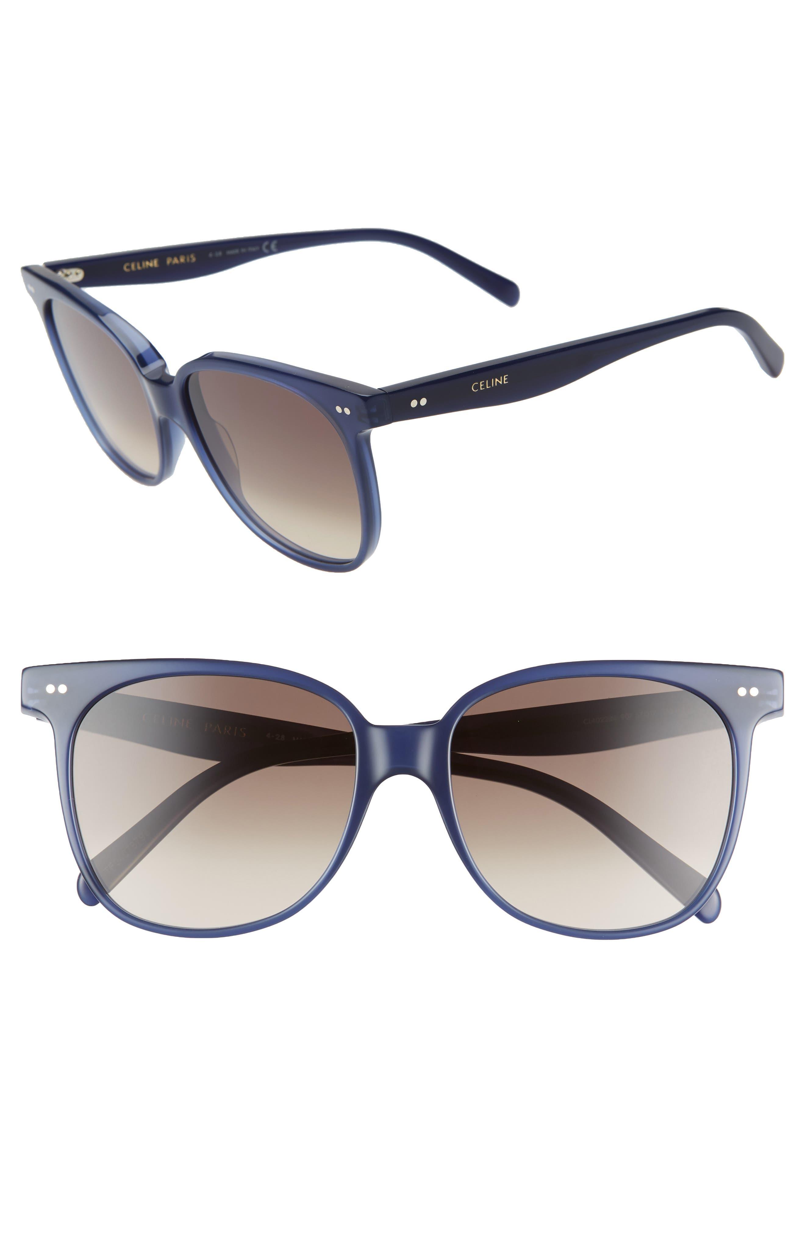 57mm Round Sunglasses,                             Main thumbnail 1, color,                             BLUE/ BROWN GRADIENT
