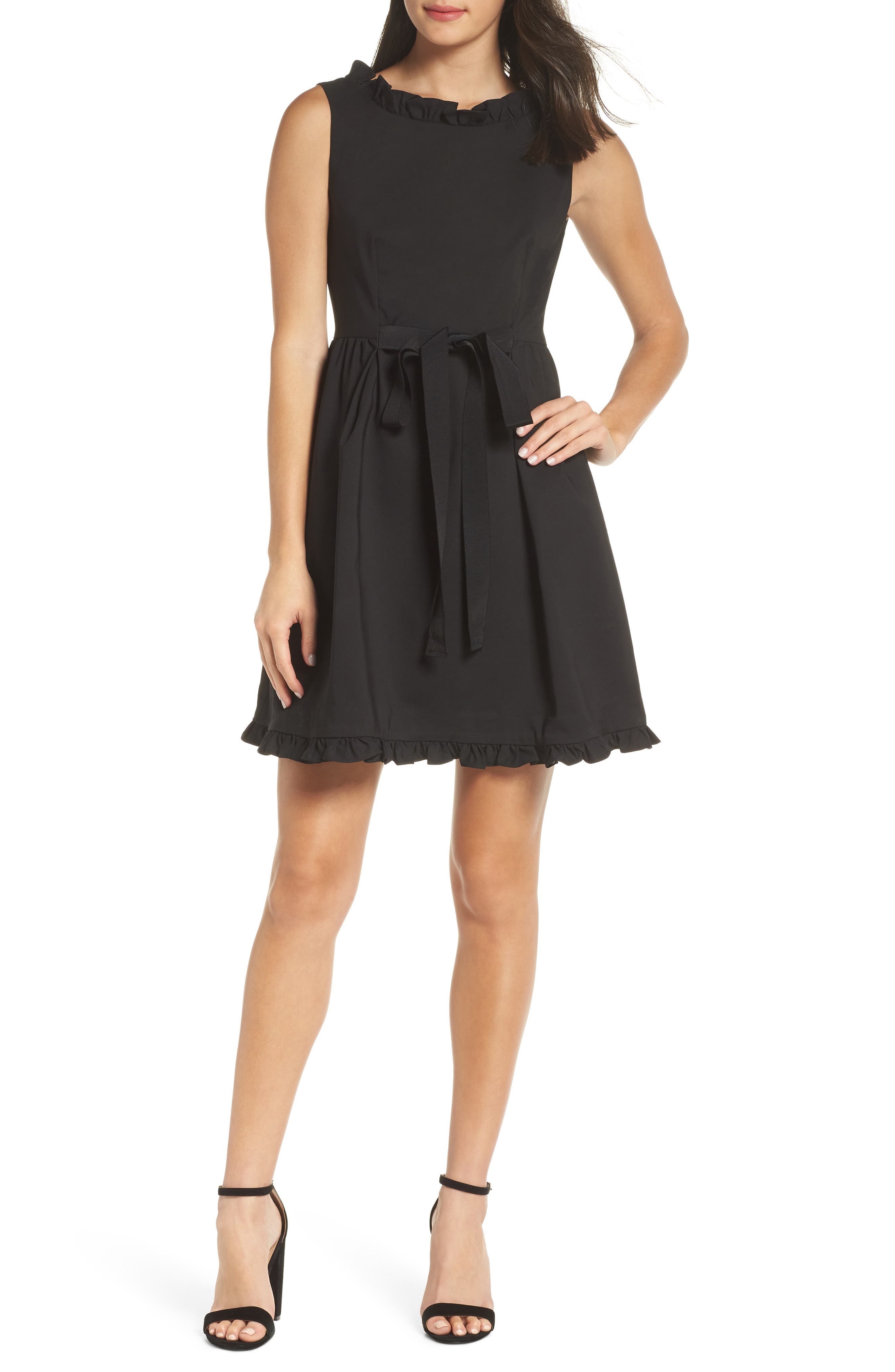 French Connection Alvina Fit & Flare Dress, Black