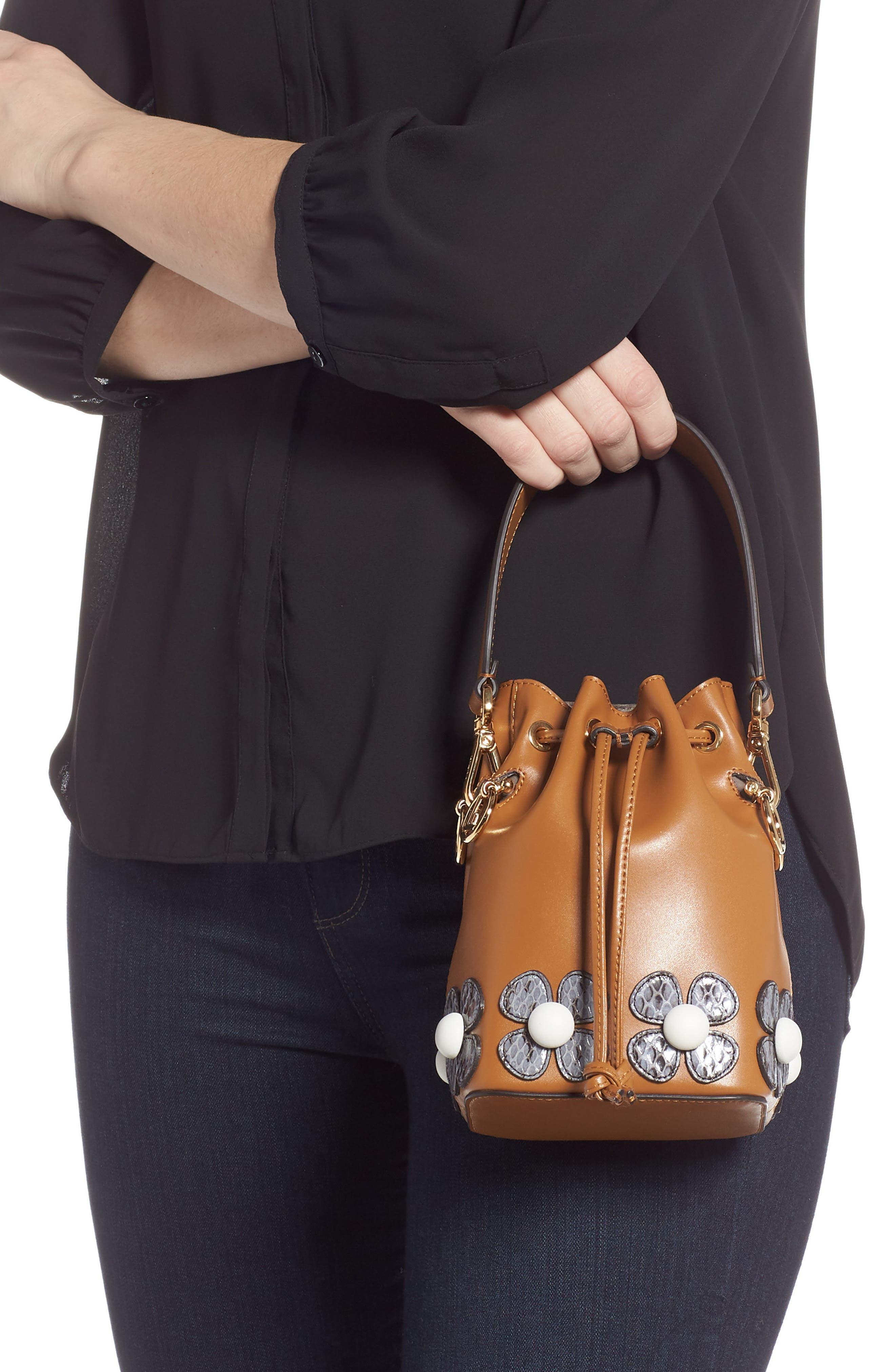 Mon Tresor Embellished Leather Bucket Bag,                             Alternate thumbnail 2, color,                             CARAMEL