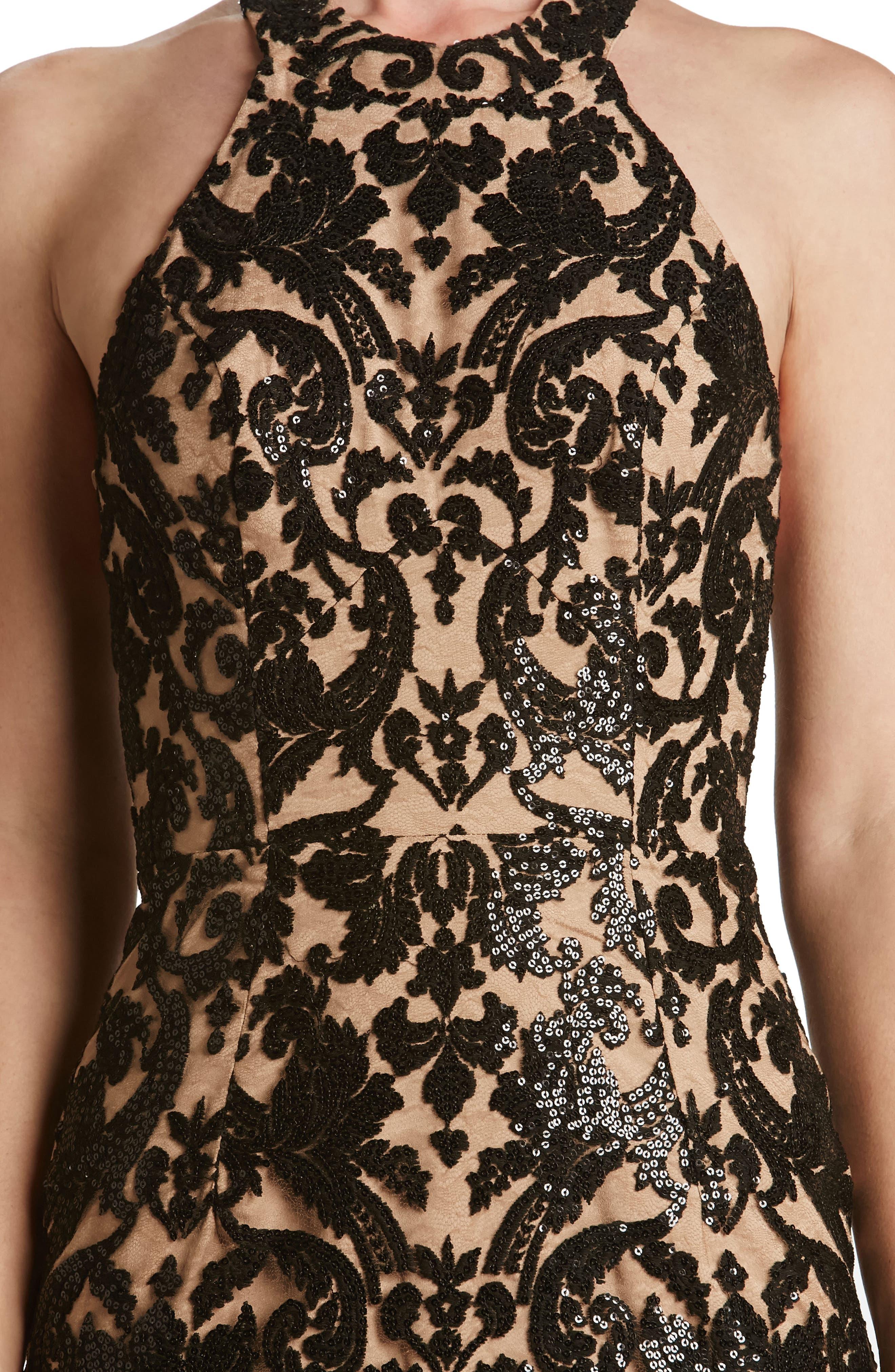Cassie Sequin Midi Dress,                             Alternate thumbnail 4, color,                             002