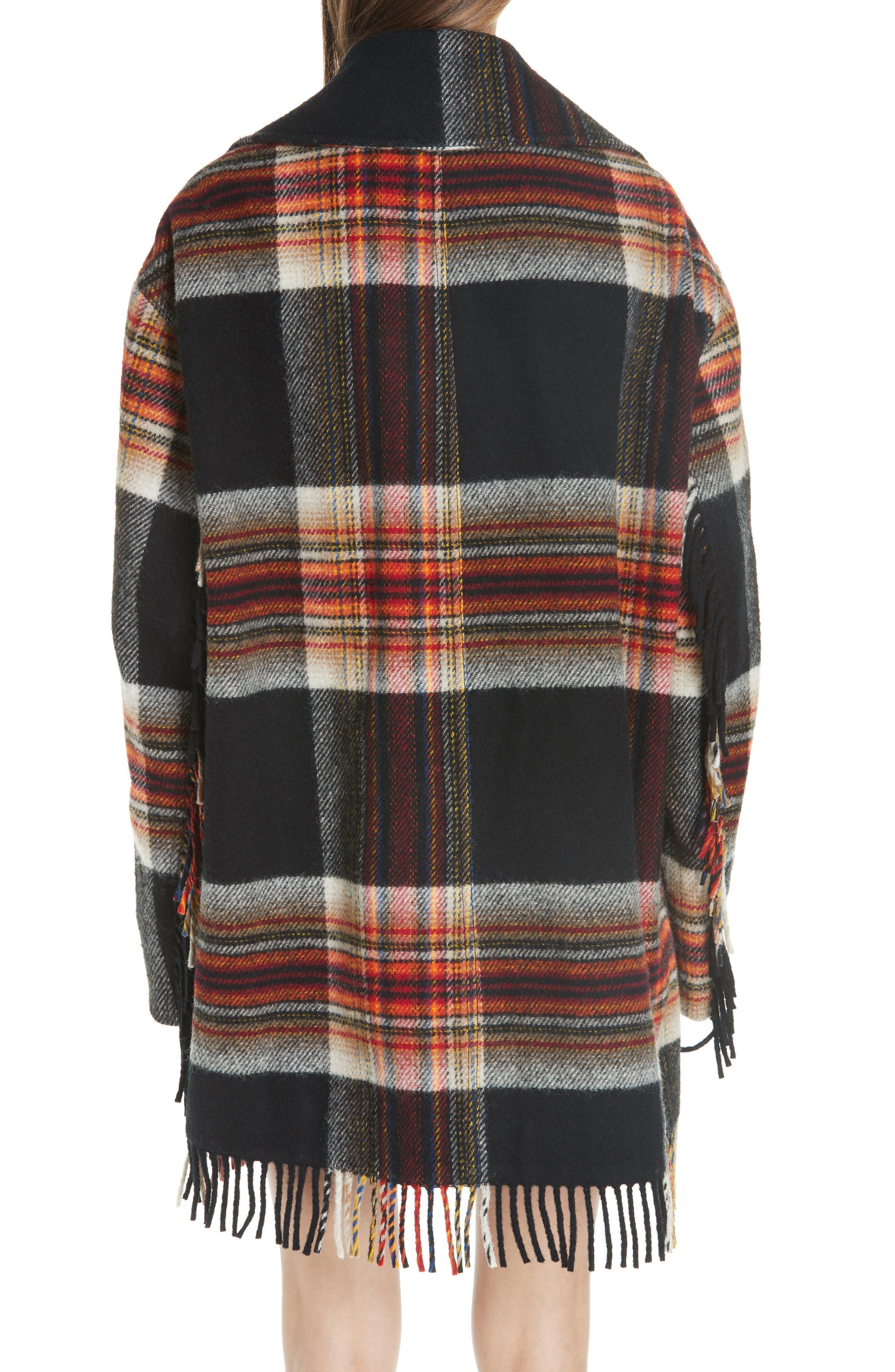 x Pendleton Fringe Plaid Blanket Coat,                             Alternate thumbnail 2, color,                             001