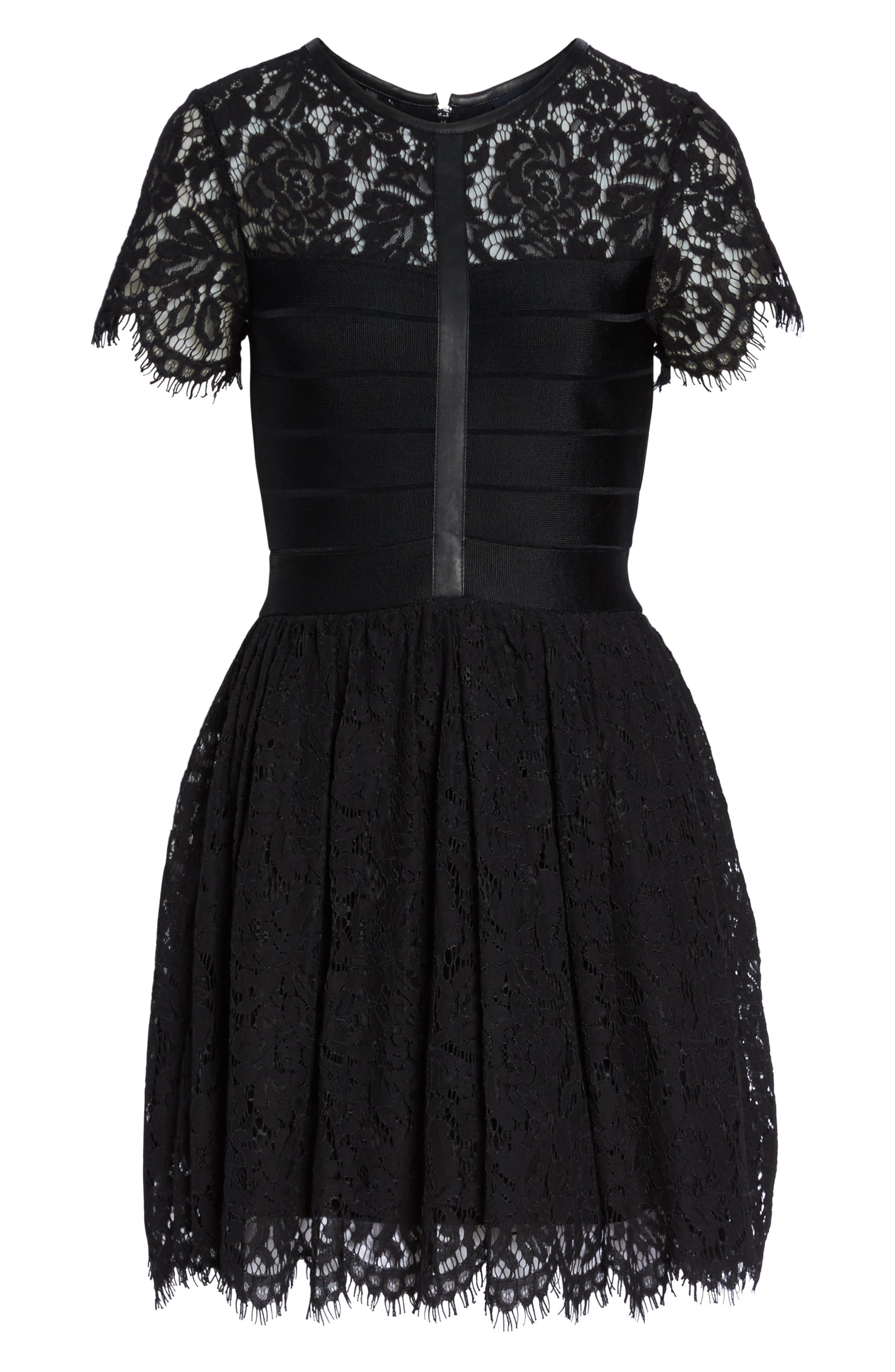 Shana Spotlight Lace Dress,                             Alternate thumbnail 6, color,                             BLACK
