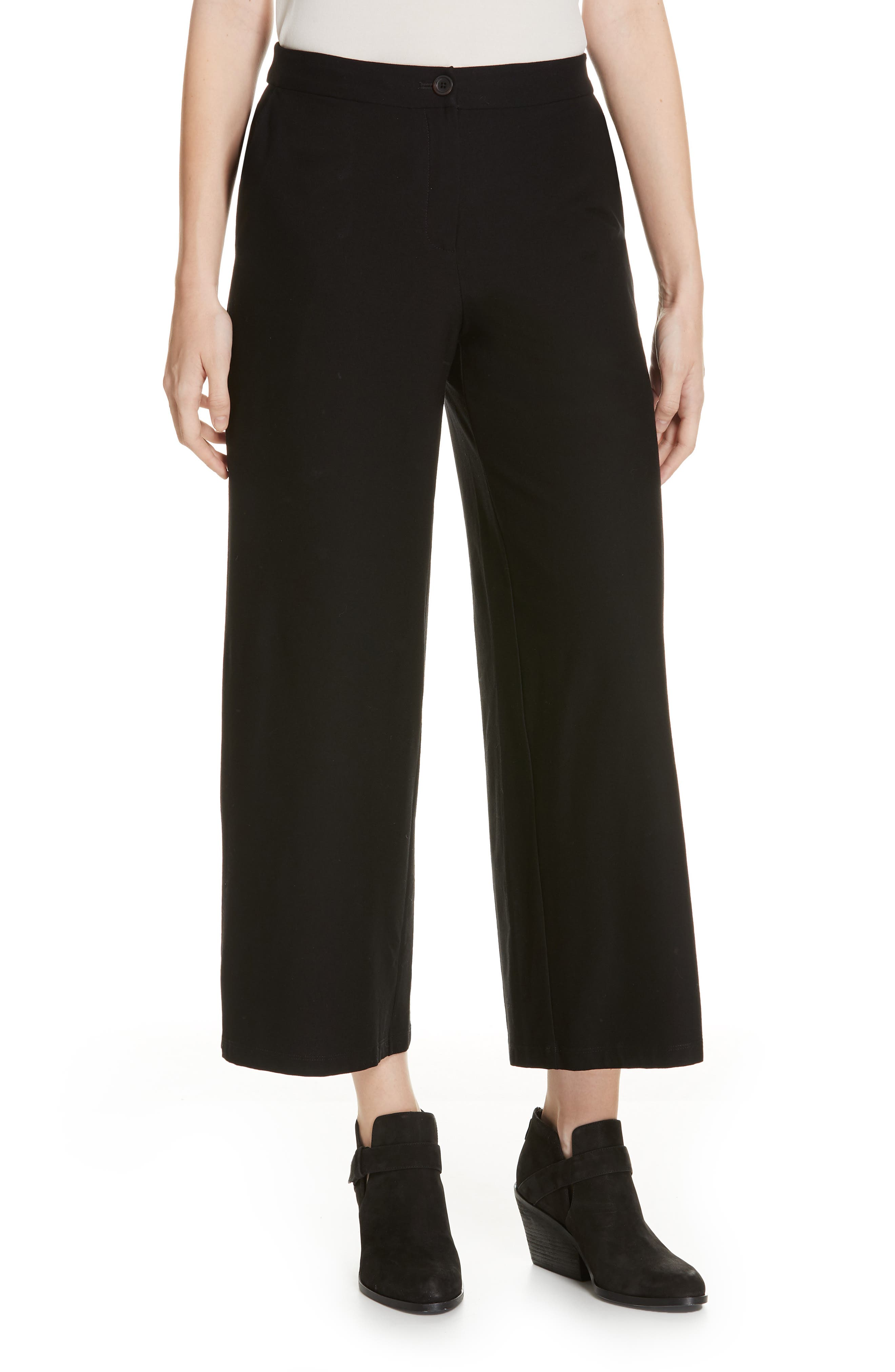 High Waist Ankle Pants, Main, color, BLACK