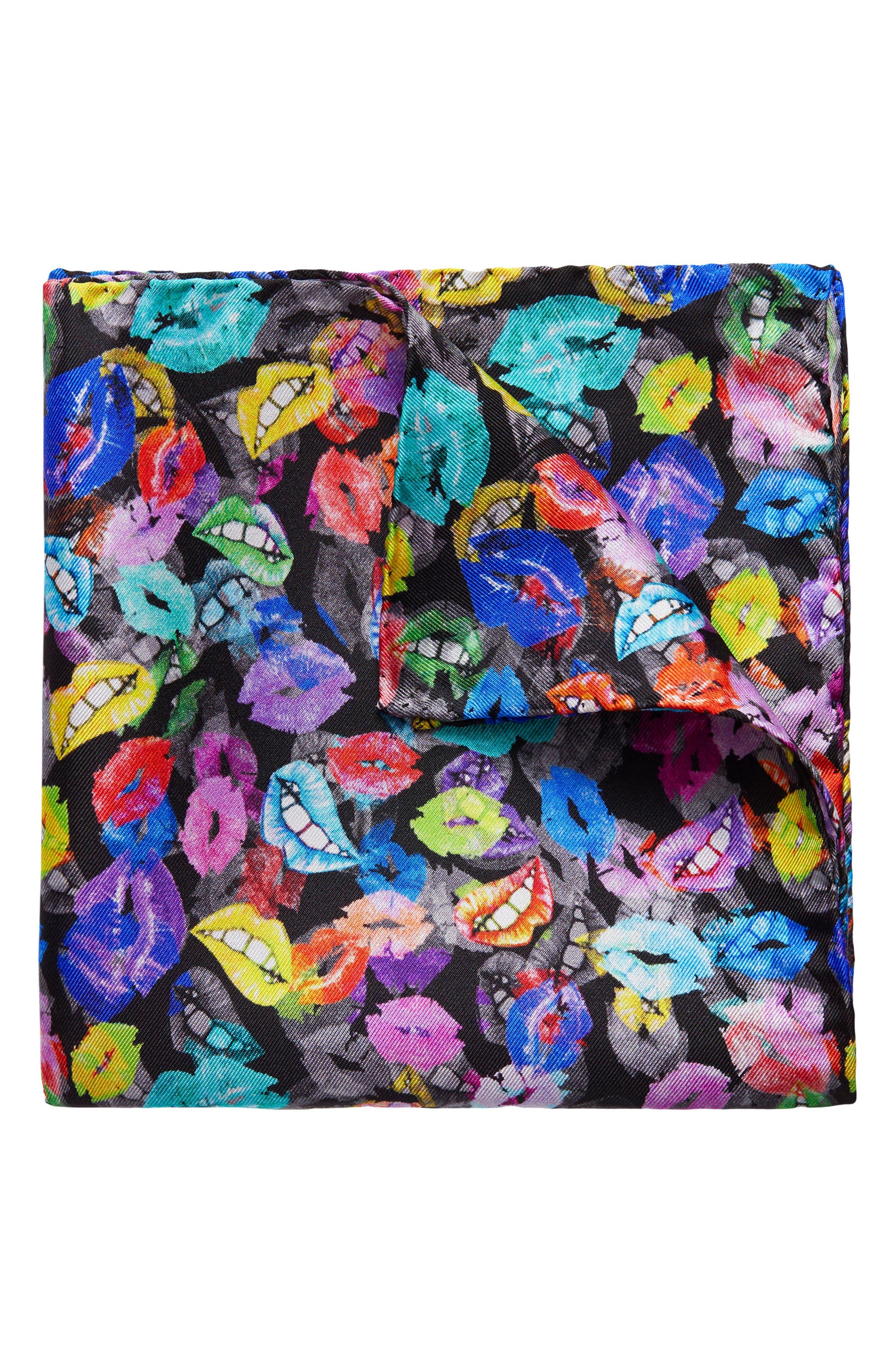 Lip Print Silk Pocket Square,                         Main,                         color, 001