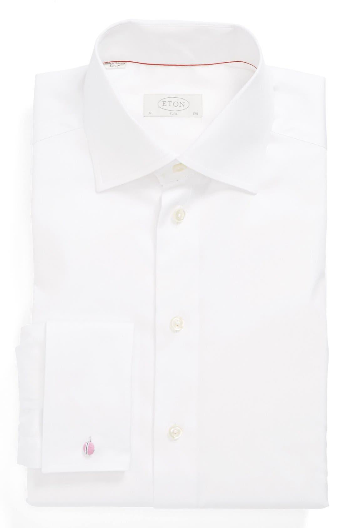 Slim Fit Non-Iron Dress Shirt,                             Main thumbnail 1, color,                             WHITE