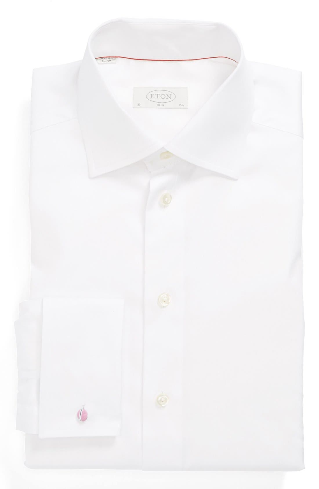 Slim Fit Non-Iron Dress Shirt,                         Main,                         color, WHITE