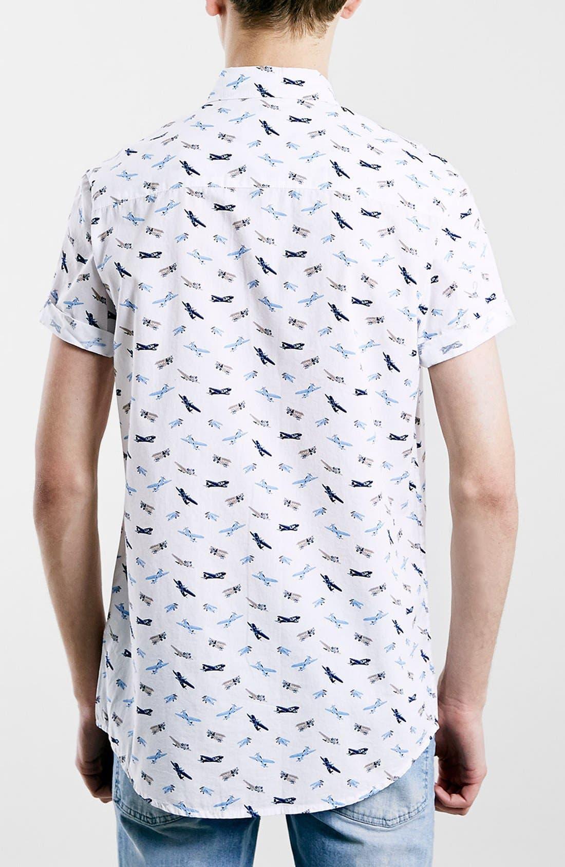 Slim Fit Short Sleeve Airplane Print Shirt,                             Alternate thumbnail 4, color,                             100