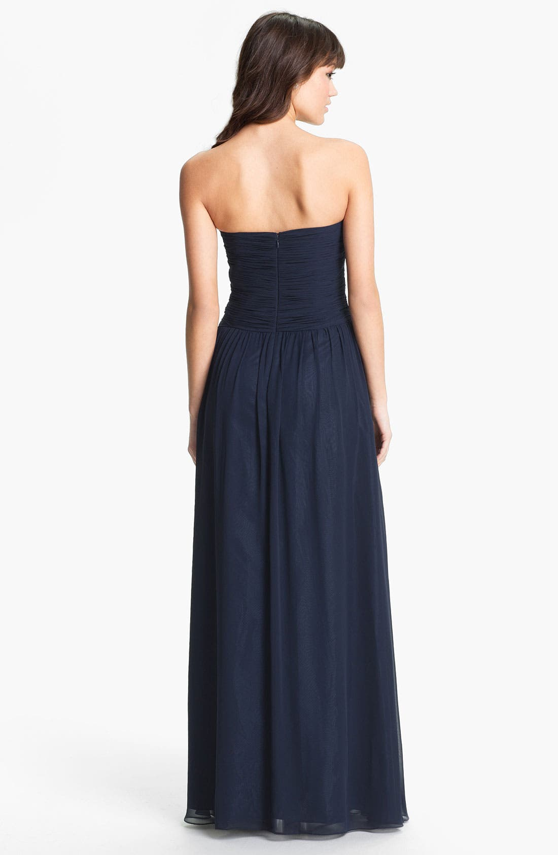 Strapless Ruched Chiffon Gown,                             Alternate thumbnail 12, color,