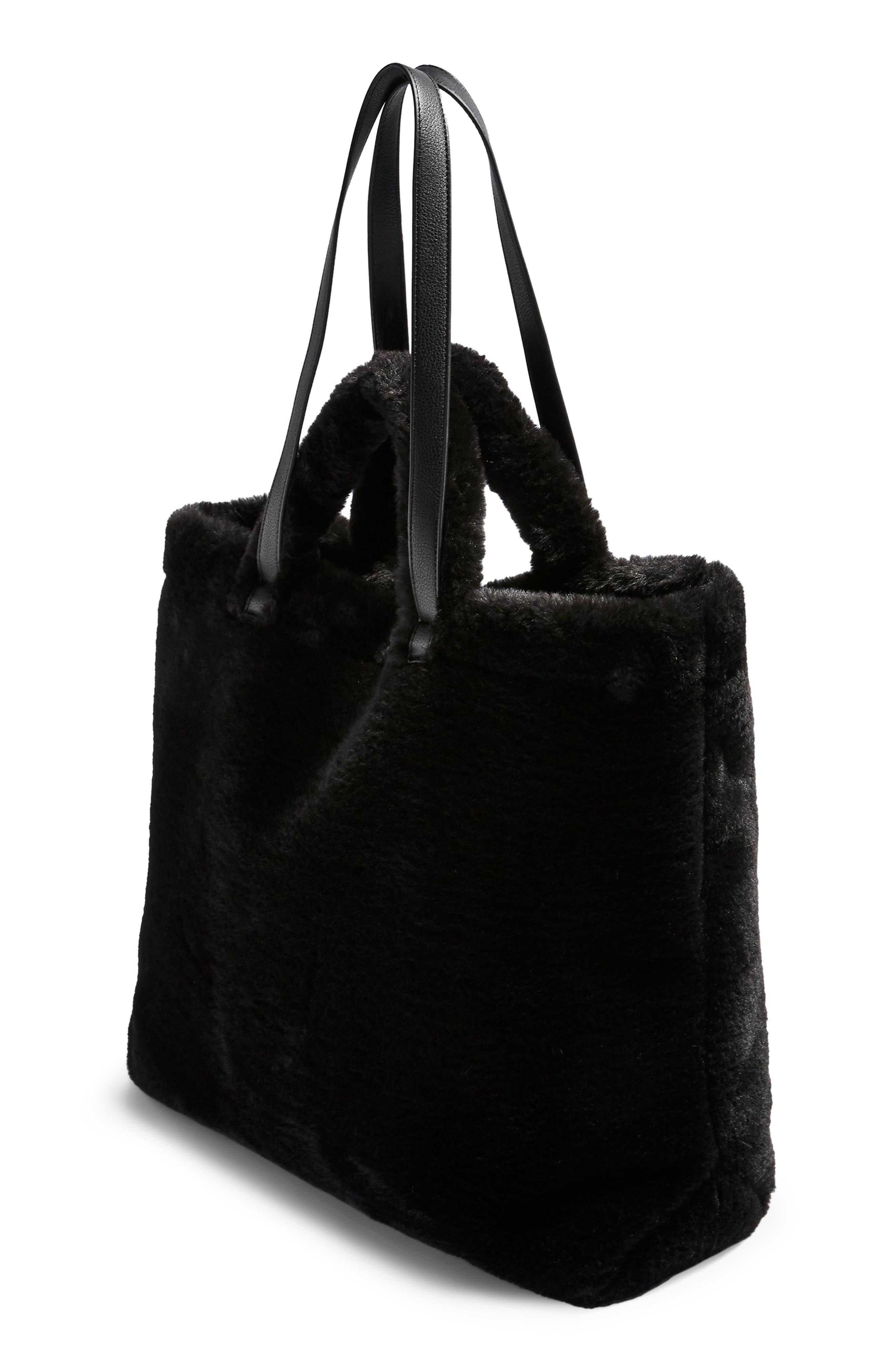 Finley Reversible Faux Fur Tote Bag,                             Alternate thumbnail 4, color,                             BLACK