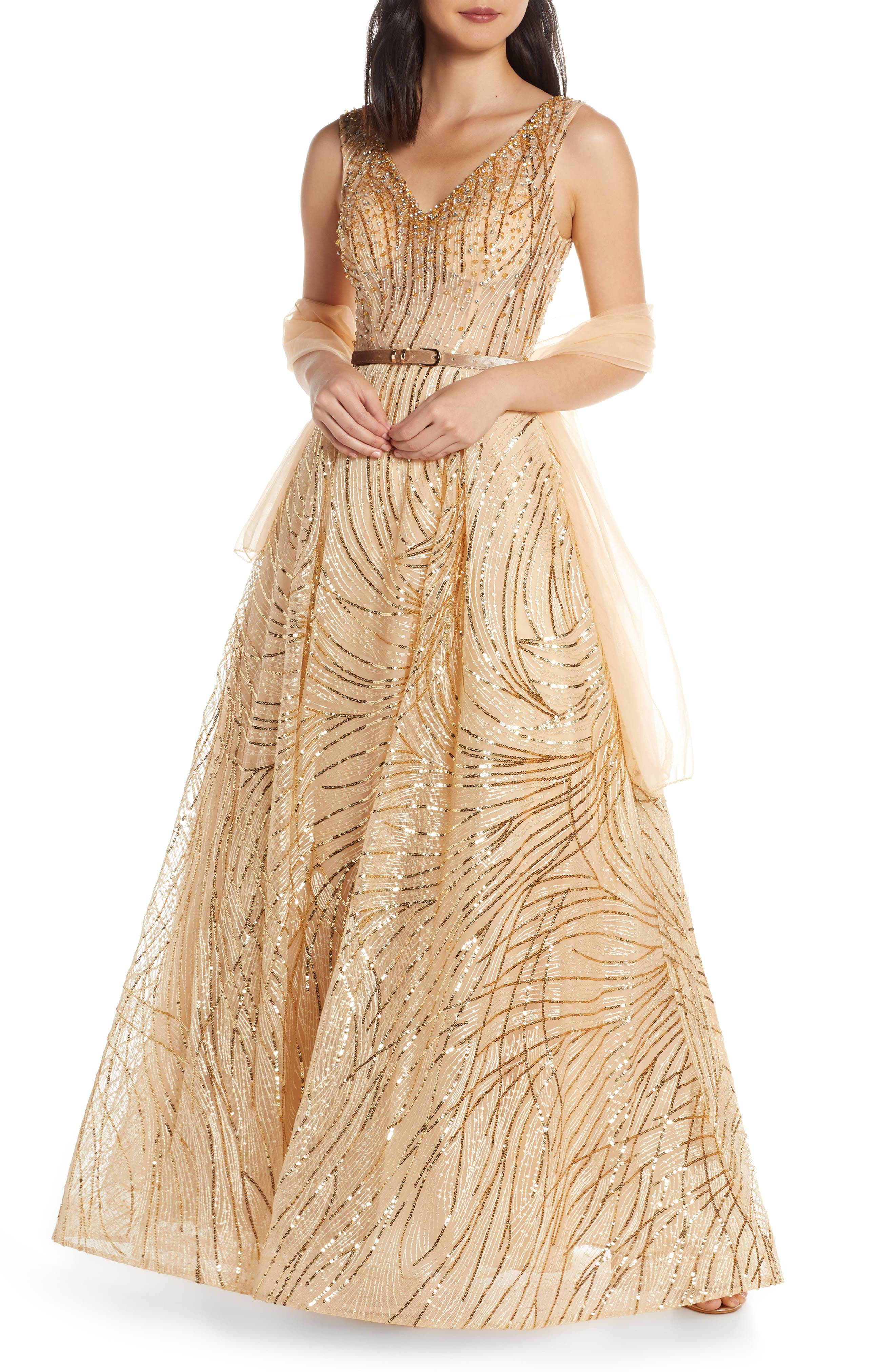 MAC Duggal Cat Tail Sequin V-Neck Prom Dress, 8 (similar to 16W) - Yellow