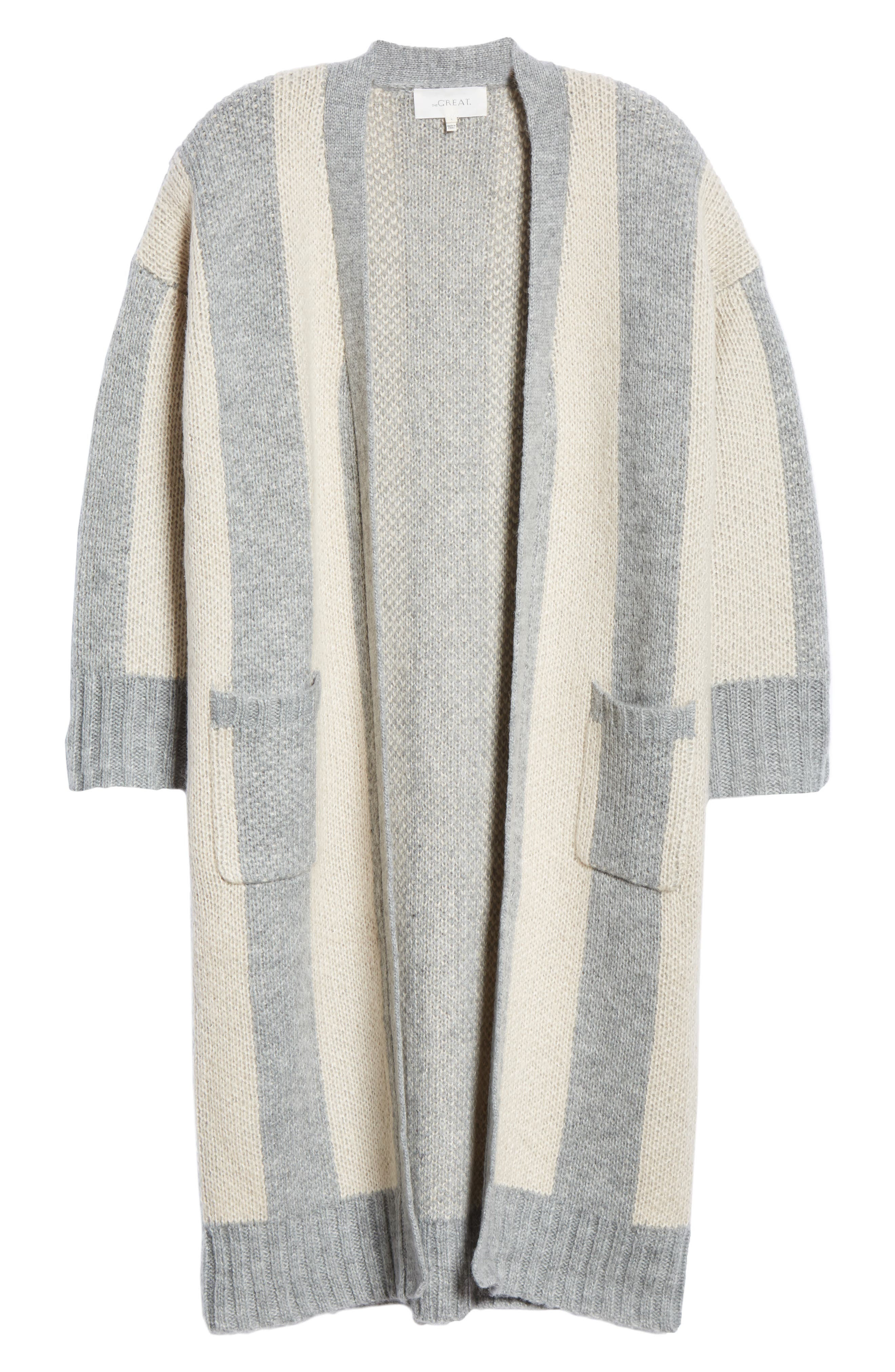 The Duster Sweater,                             Alternate thumbnail 6, color,                             HEATHER GREY STRIPE