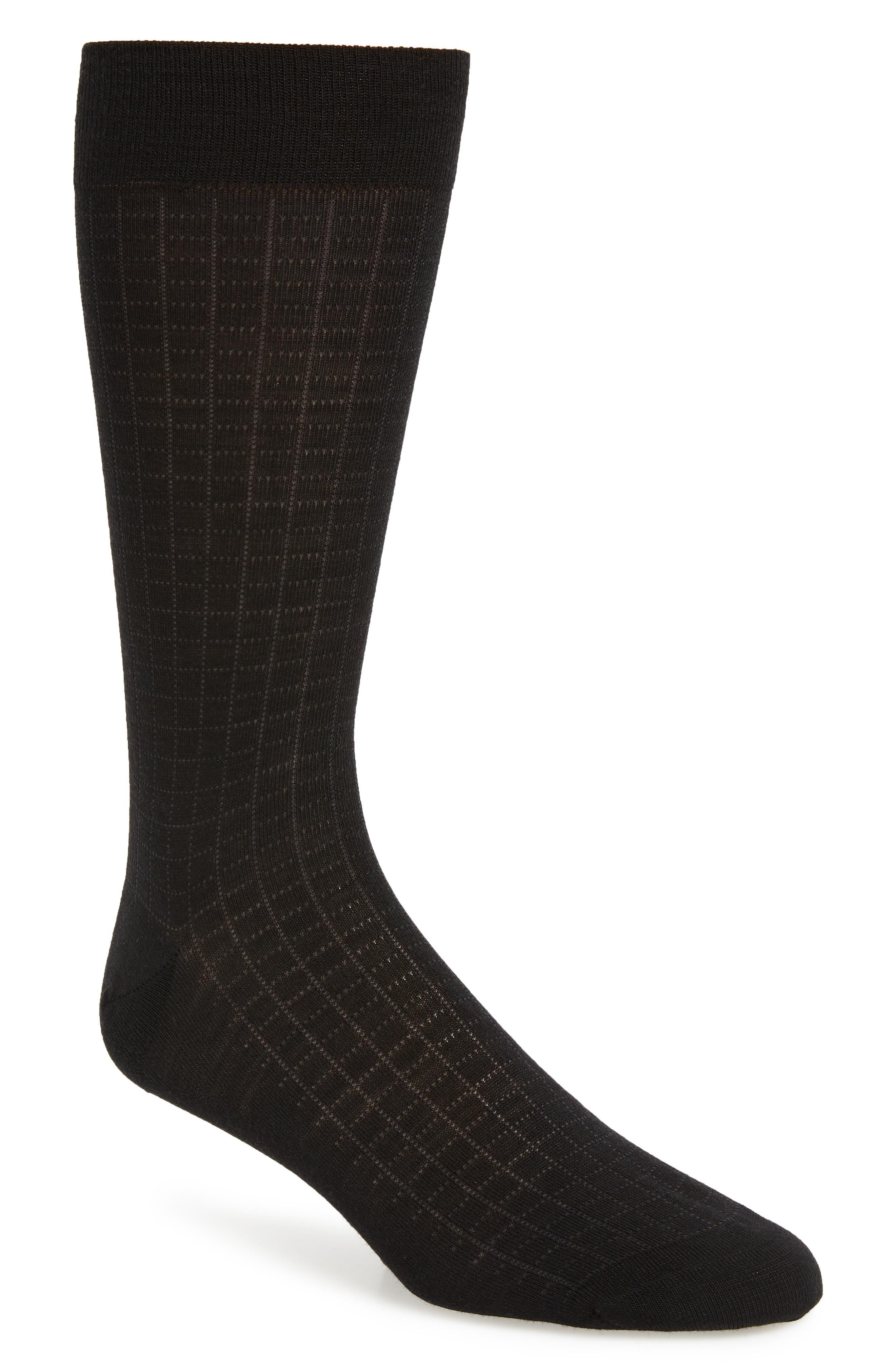 Mini Spiral Grid Socks,                             Main thumbnail 1, color,                             BLACK