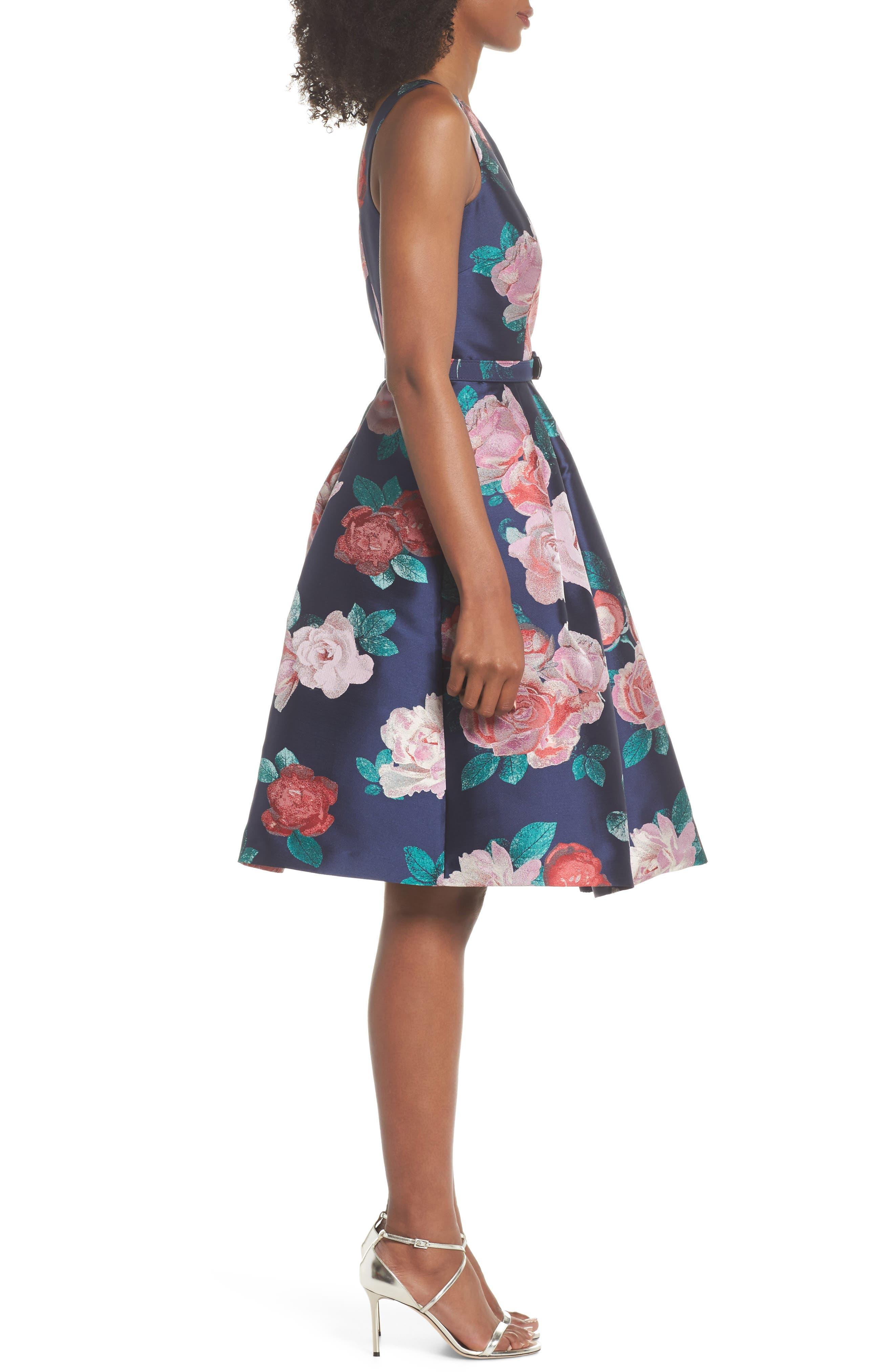 Floral Fit & Flare Dress,                             Alternate thumbnail 3, color,                             NAVY
