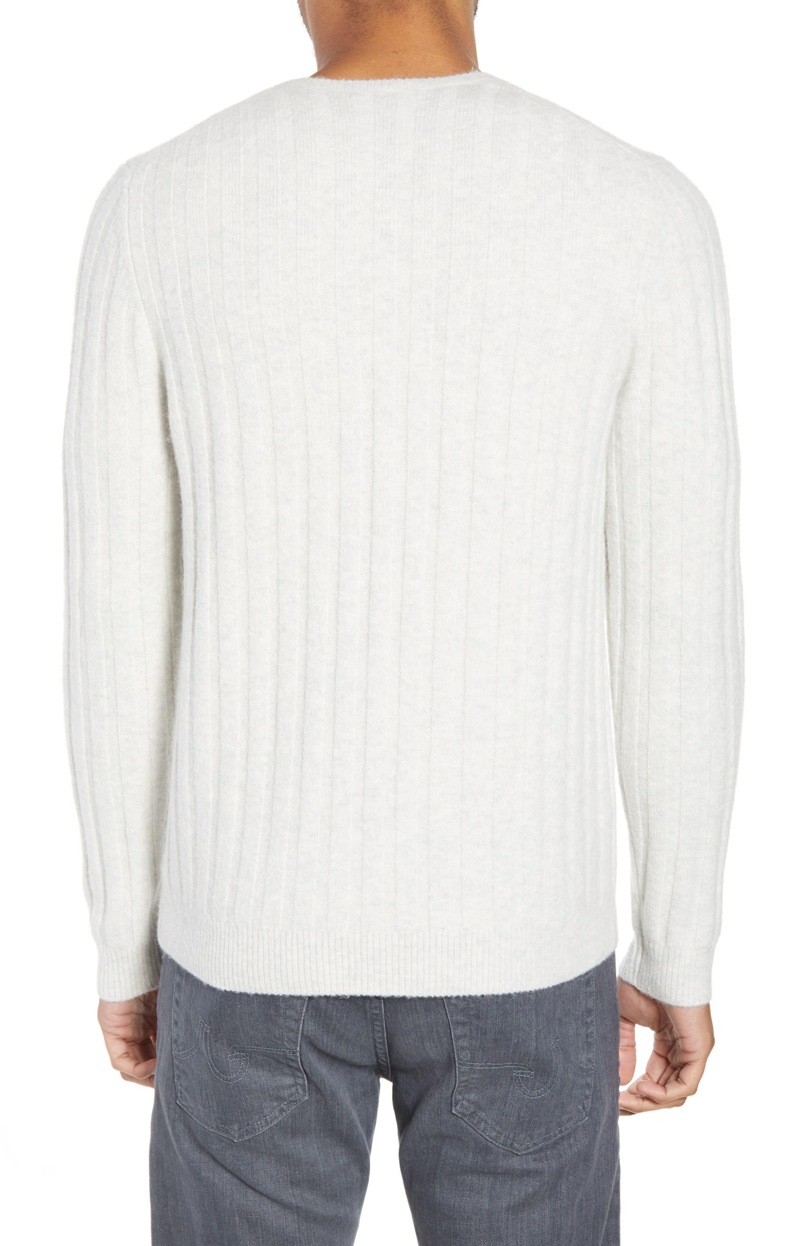 Rib Crewneck Sweater,                             Alternate thumbnail 2, color,                             GREY SILK HEATHER