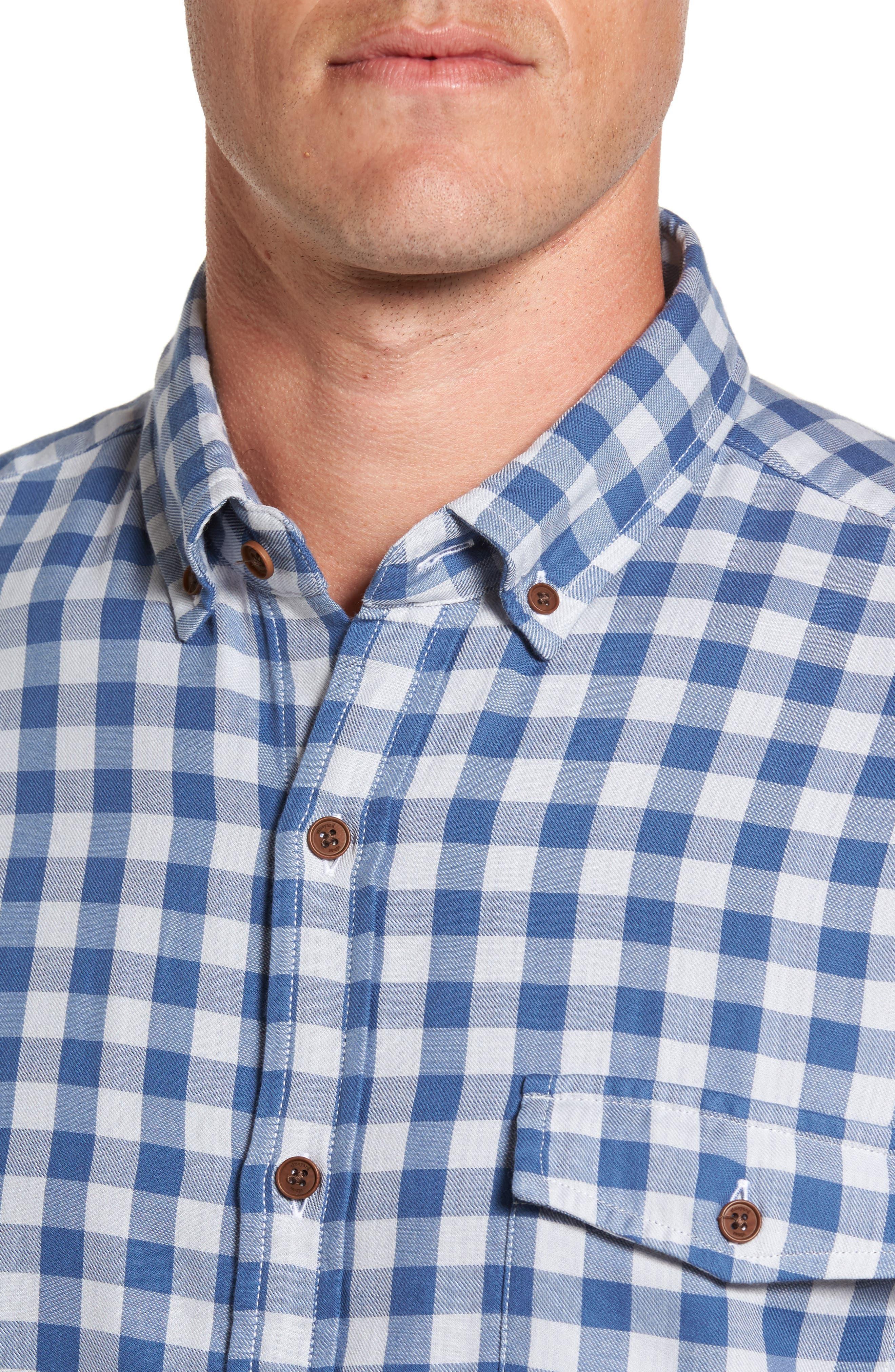 Crosby Slim Blue Heron Gingham Sport Shirt,                             Alternate thumbnail 4, color,                             461