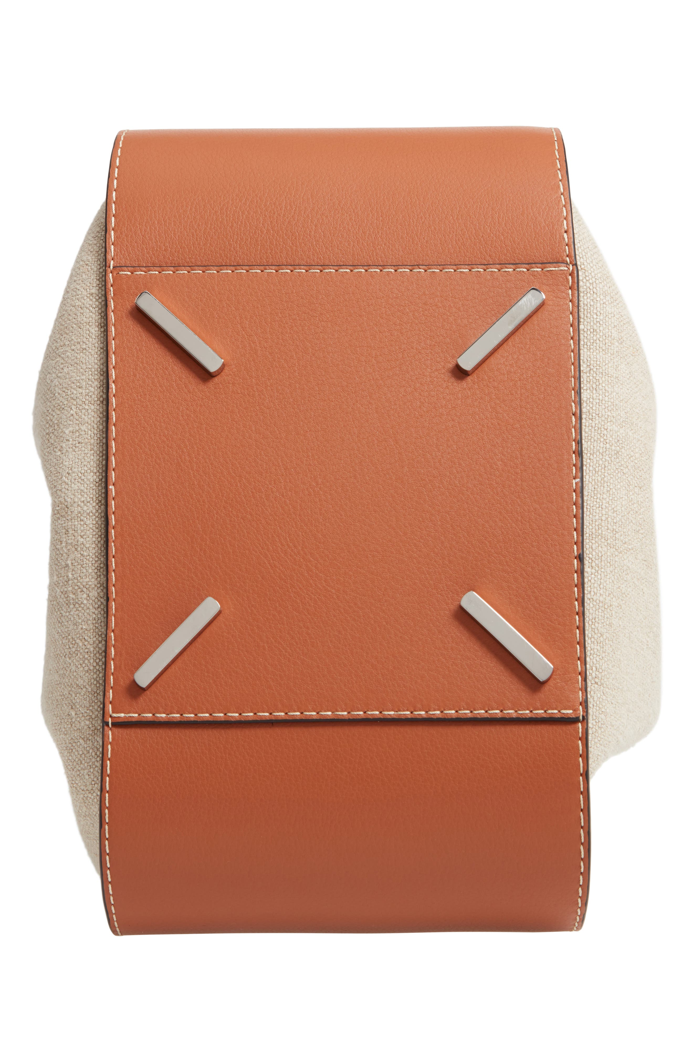 LOEWE,                             Hammock Drawstring Linen & Leather Hobo,                             Alternate thumbnail 7, color,                             TAN/ NATURAL