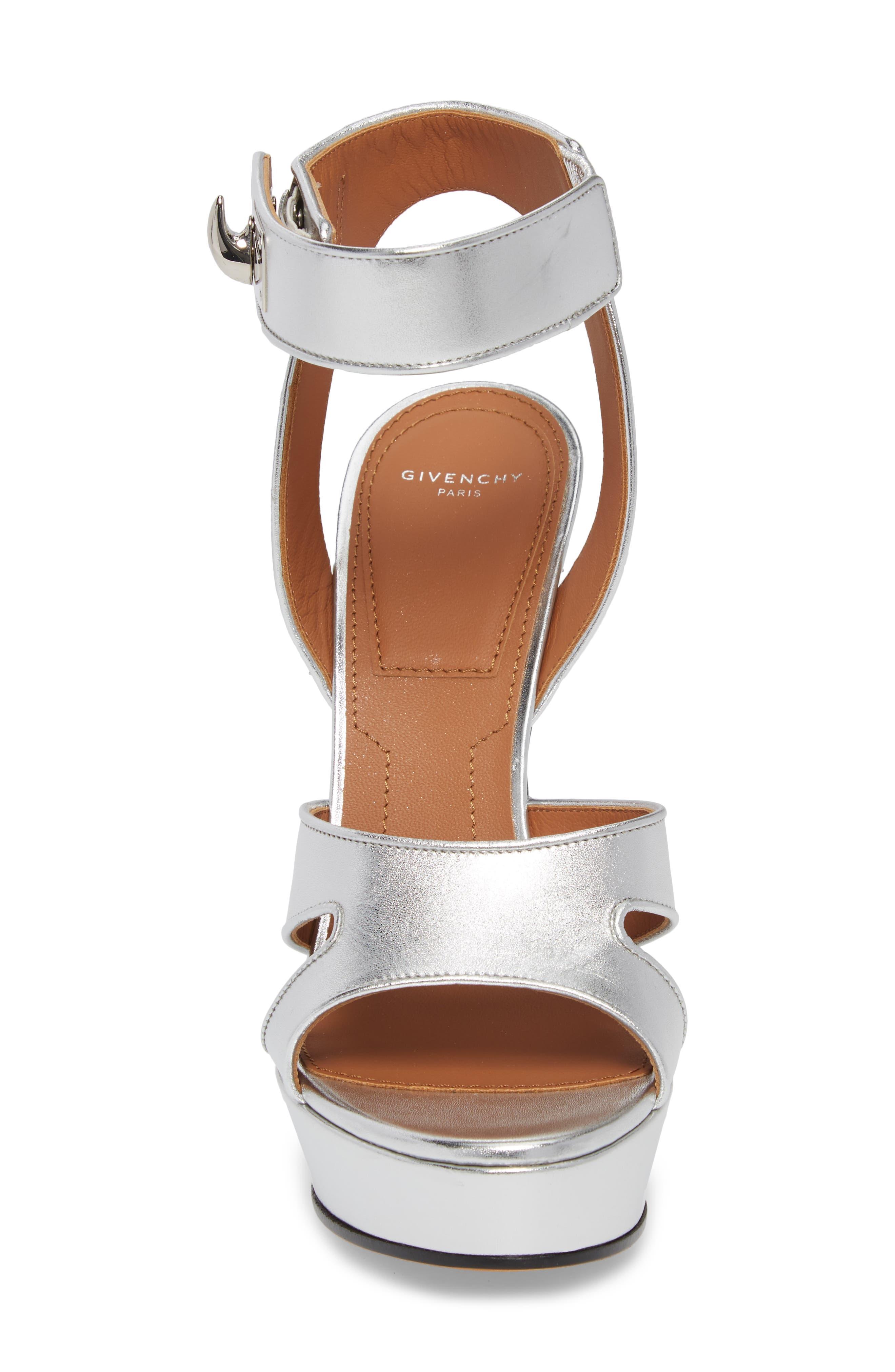 Shark Tooth Platform Sandal,                             Alternate thumbnail 4, color,                             SILVER