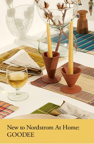 New to Nordstrom At Home: placemats, napkins, a glass, candle holders and a vase from GOODEE 100.
