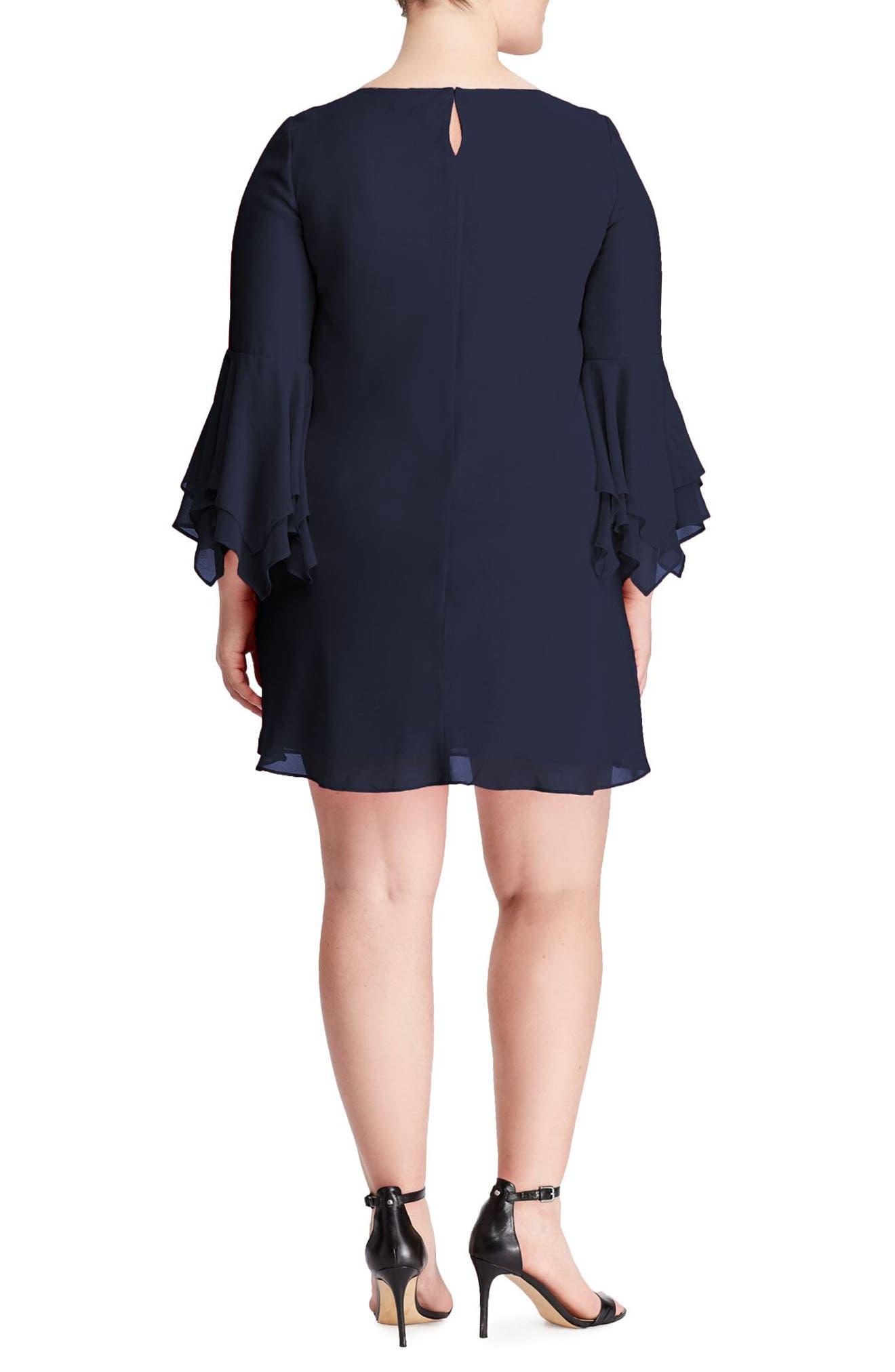 Bell Sleeve A-Line Dress,                             Alternate thumbnail 2, color,                             410