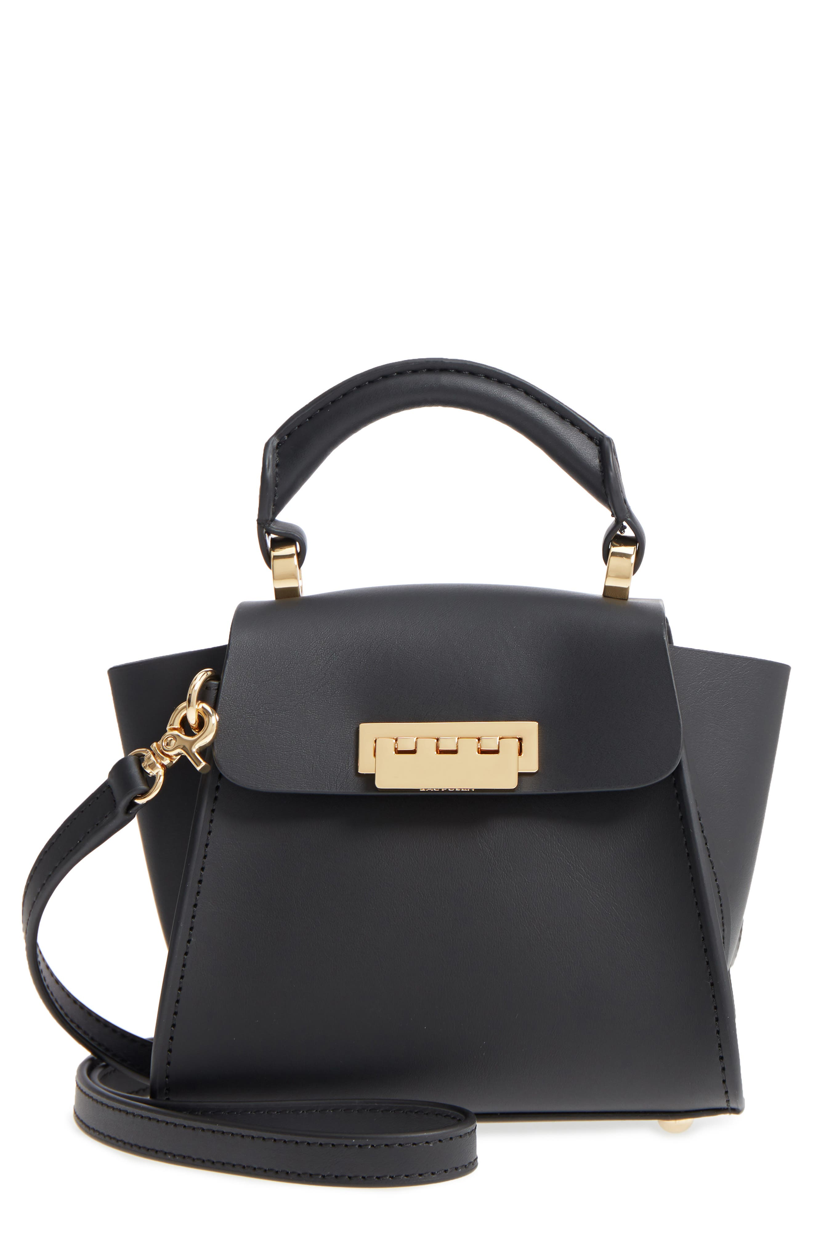 Mini Eartha Iconic Calfskin Leather Top Handle Satchel,                         Main,                         color, BLACK