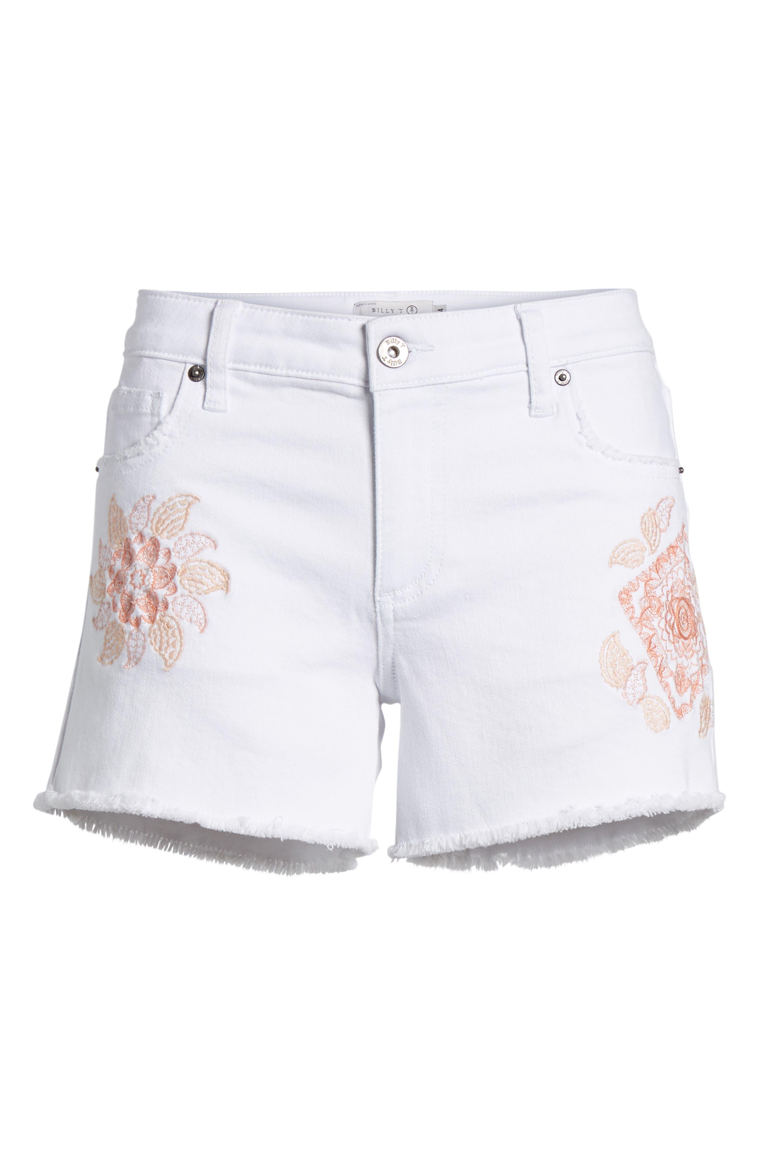 Embroidered Denim Shorts,                             Alternate thumbnail 7, color,                             100