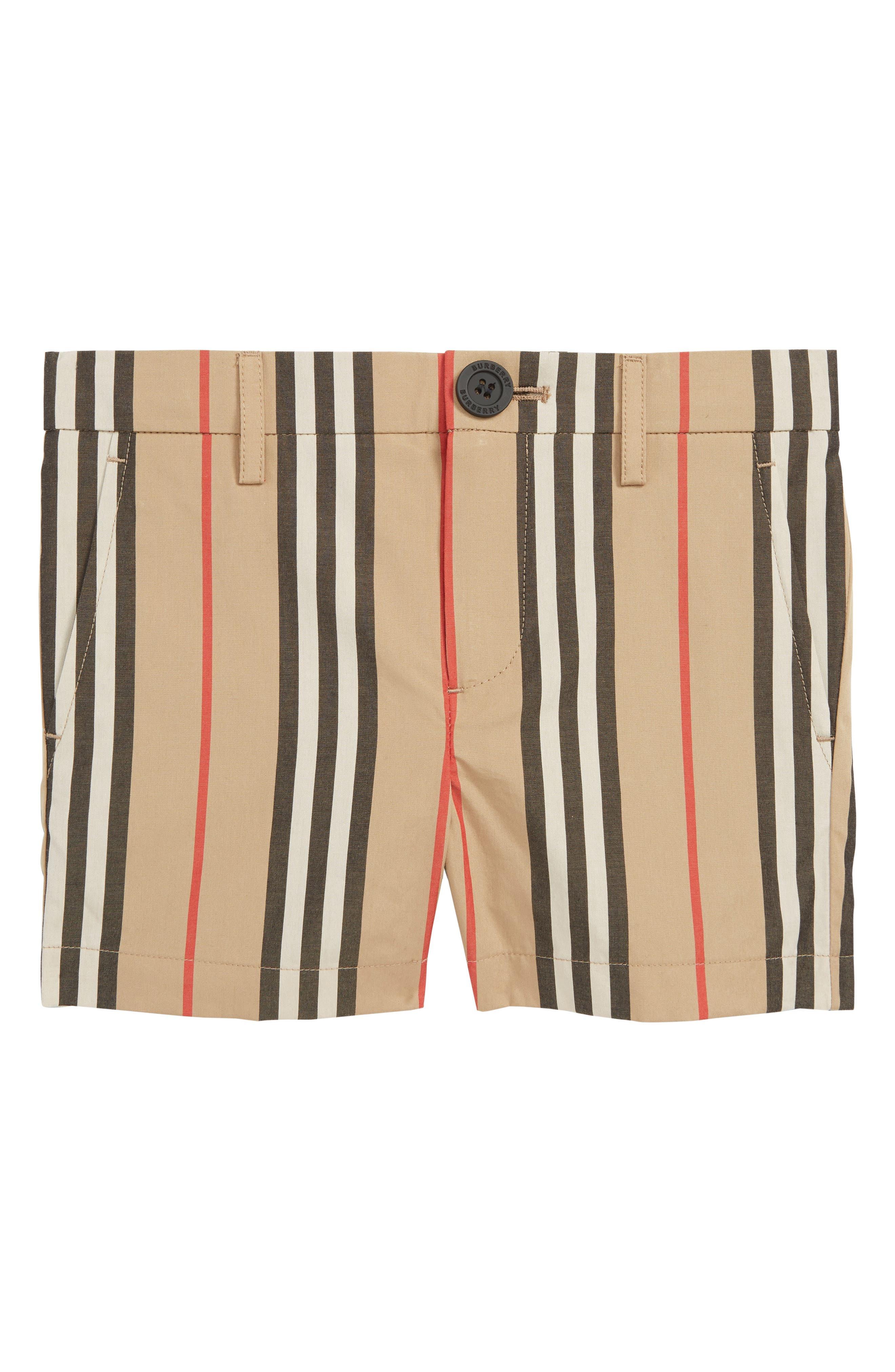 BURBERRY,                             Nicki Stripe Shorts,                             Main thumbnail 1, color,                             ARCHIVE BEIGE