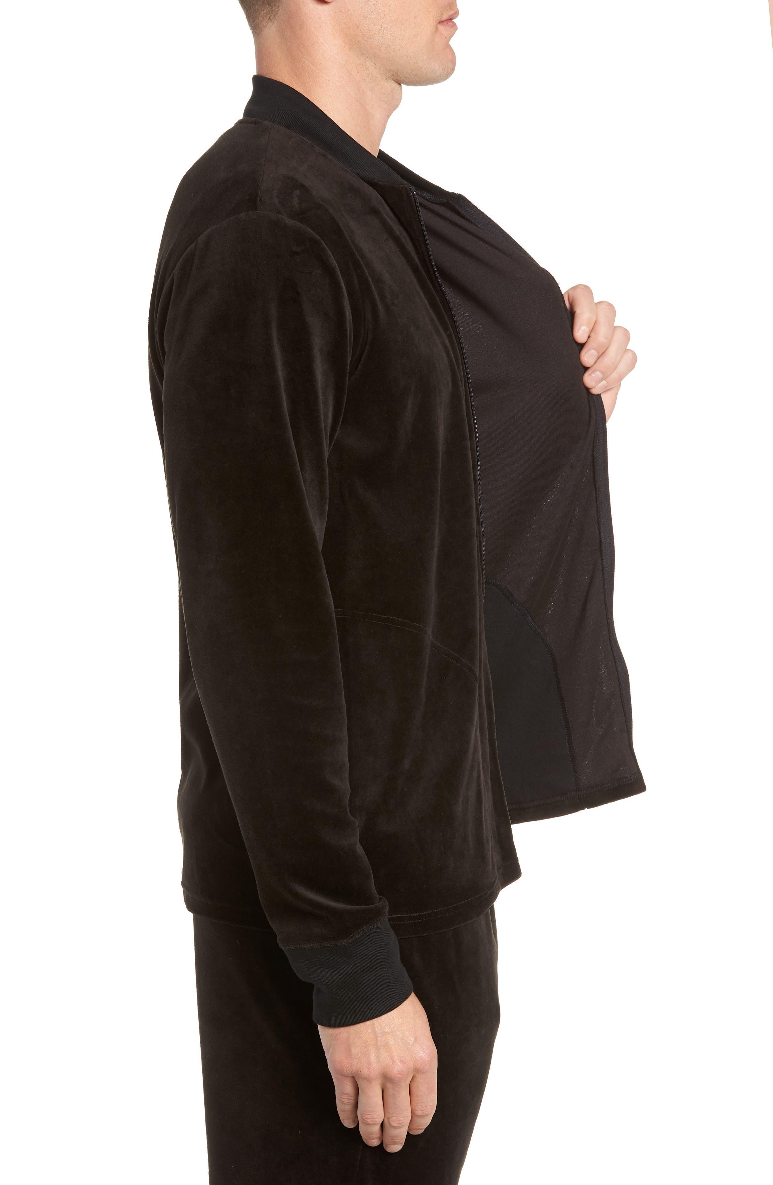 Velour Jacket,                             Alternate thumbnail 3, color,                             POLO BLACK