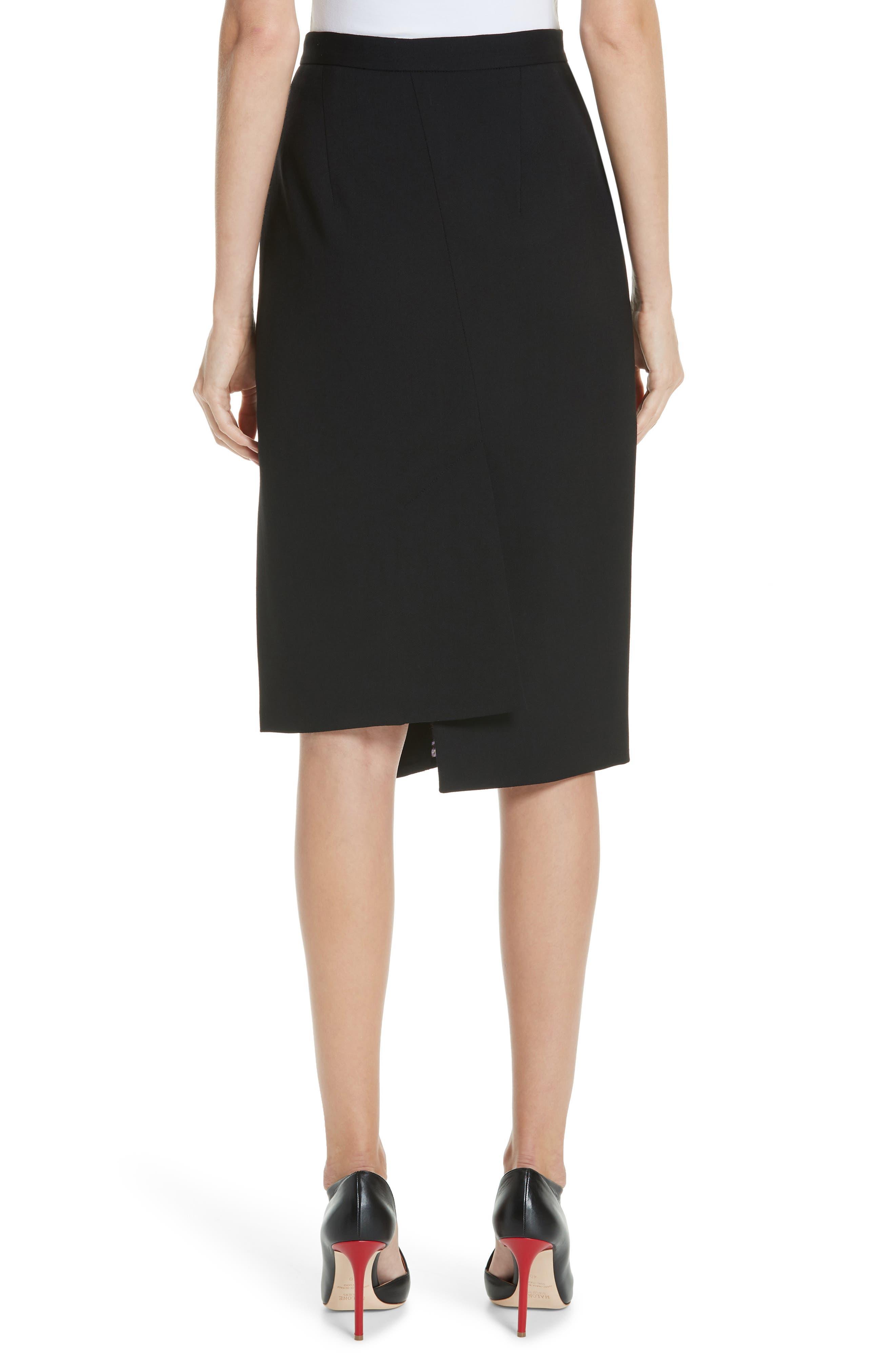 Button Detail Slit Stretch Wool Pencil Skirt,                             Alternate thumbnail 2, color,                             001 BLACK