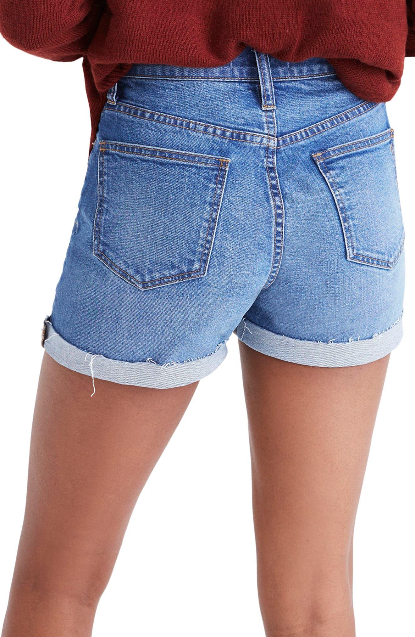 High Rise Denim Shorts,                             Alternate thumbnail 2, color,                             400
