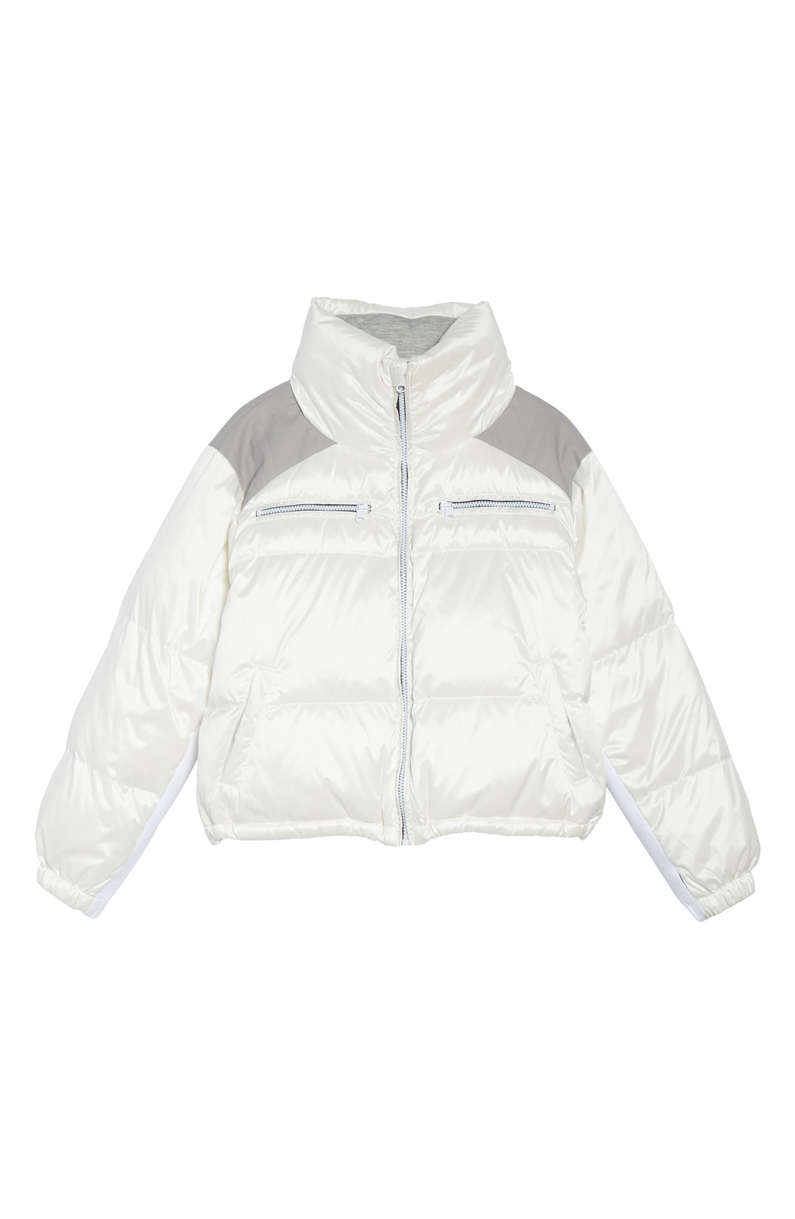 Reversible Puffer Jacket,                             Alternate thumbnail 6, color,                             WHITE/HEATHER GREY