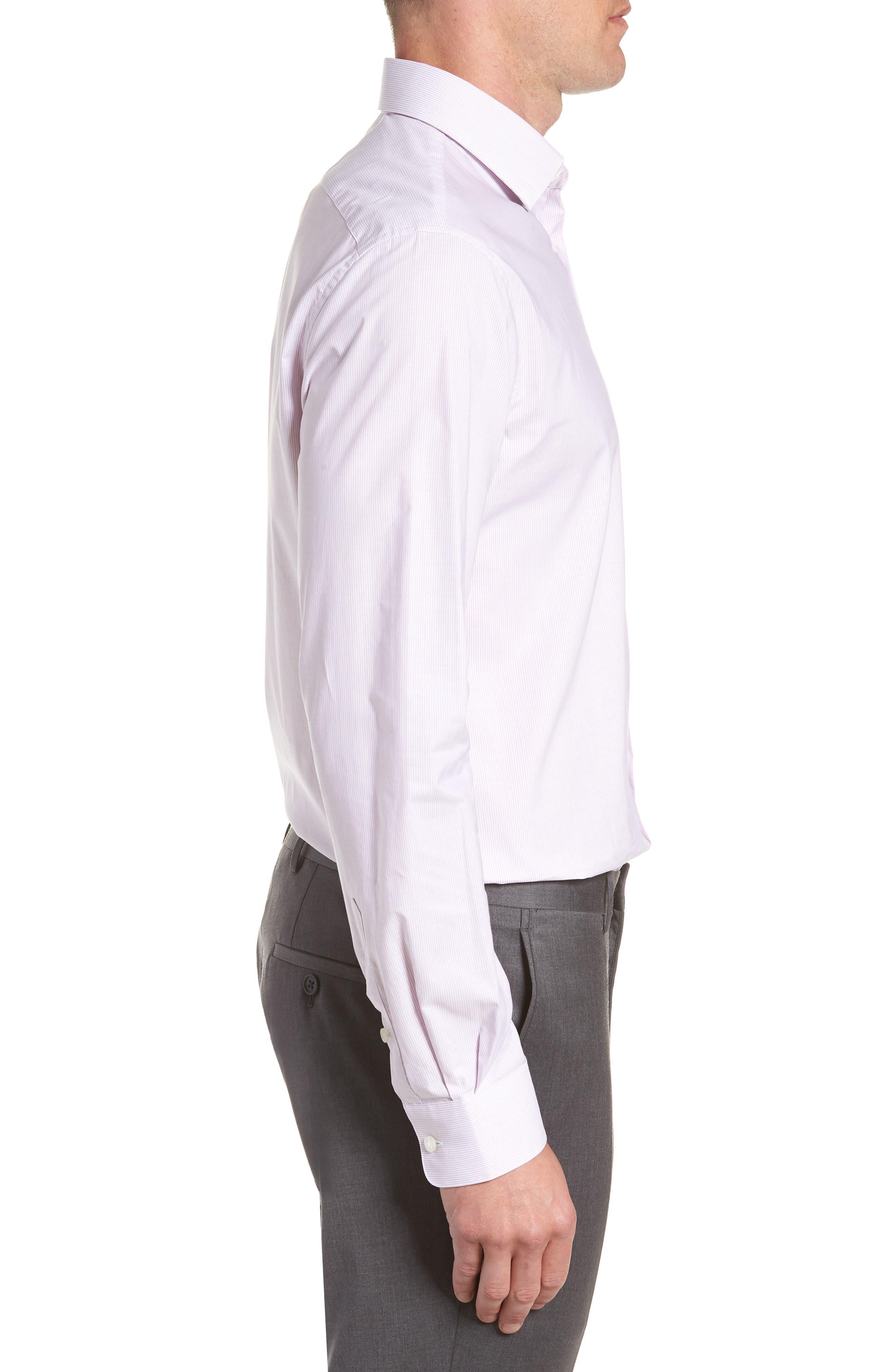 Stripe Regular Fit Dress Shirt,                             Alternate thumbnail 4, color,                             GRAPE
