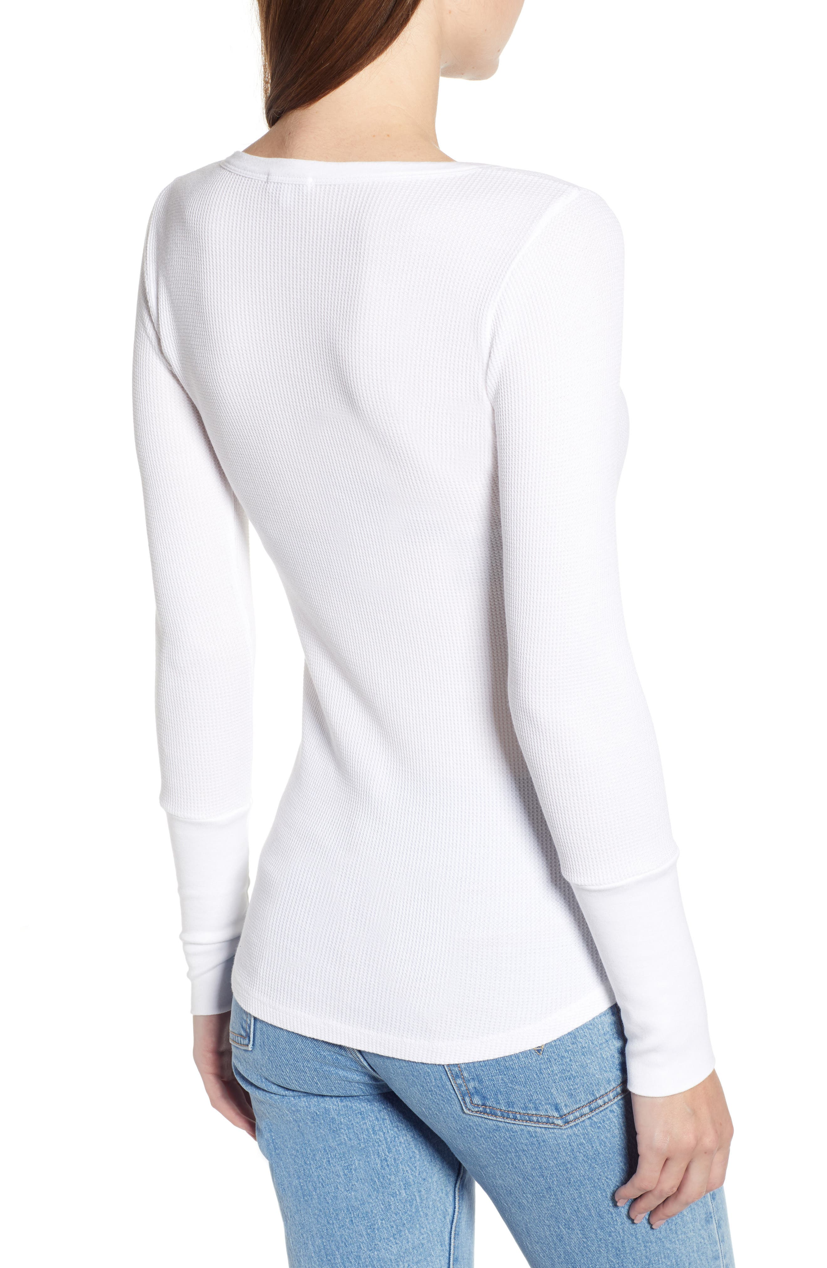Classic Henley Thermal,                             Alternate thumbnail 2, color,                             WHITE