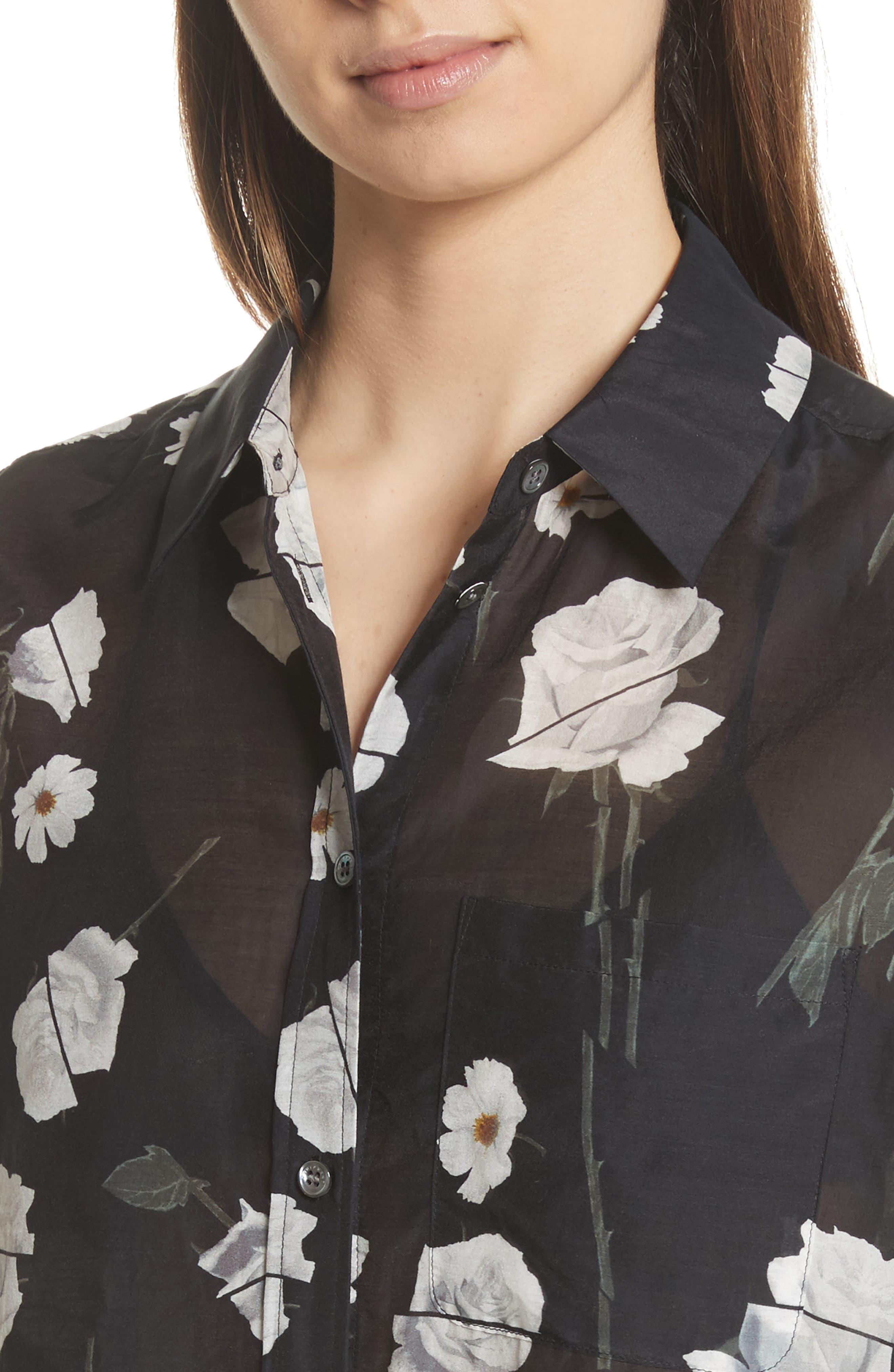 Daddy Floral Cotton & Silk Shirt,                             Alternate thumbnail 4, color,                             006