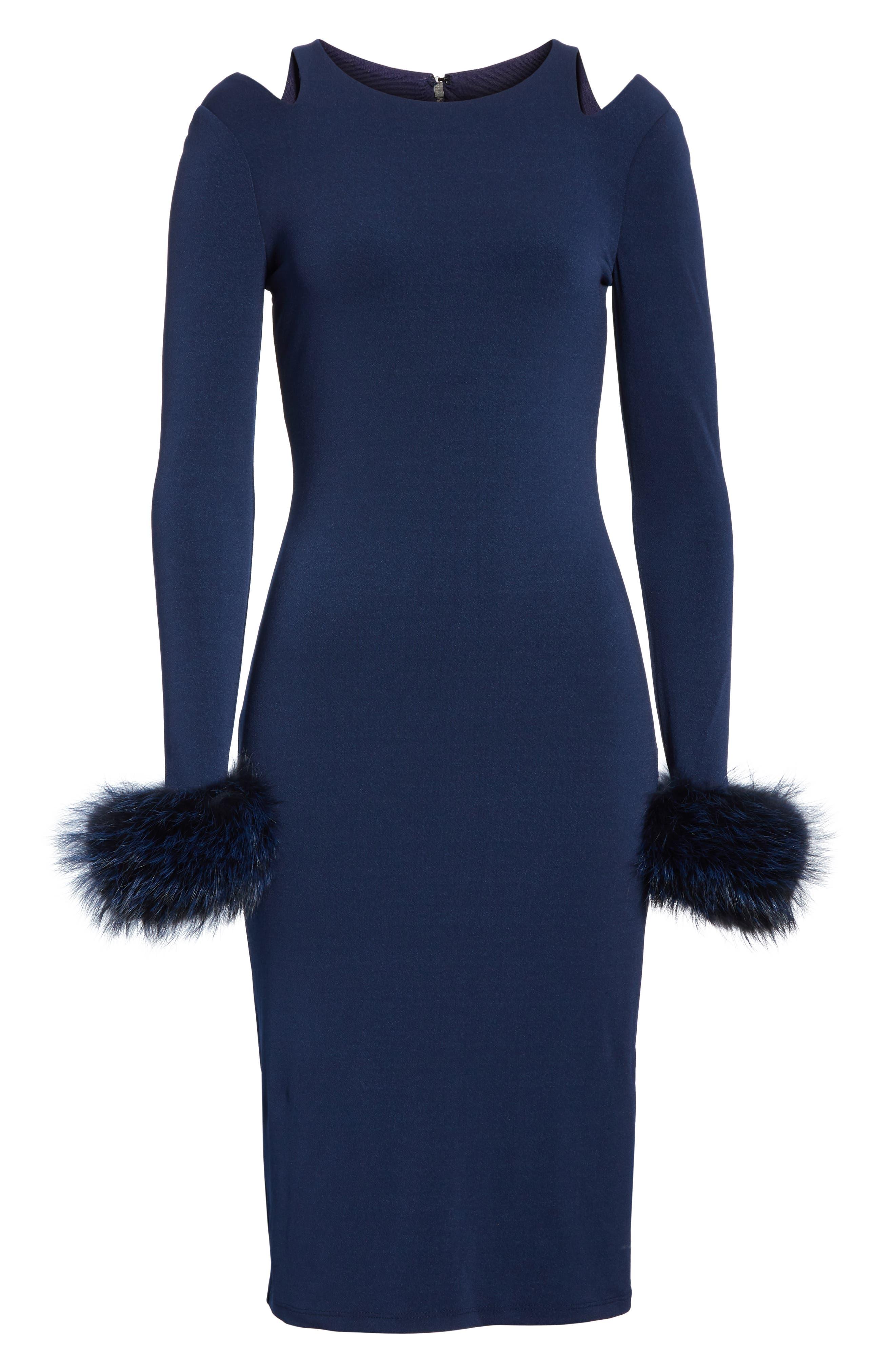 Tabitha Genuine Fox Fur Cuff Dress,                             Alternate thumbnail 6, color,                             400
