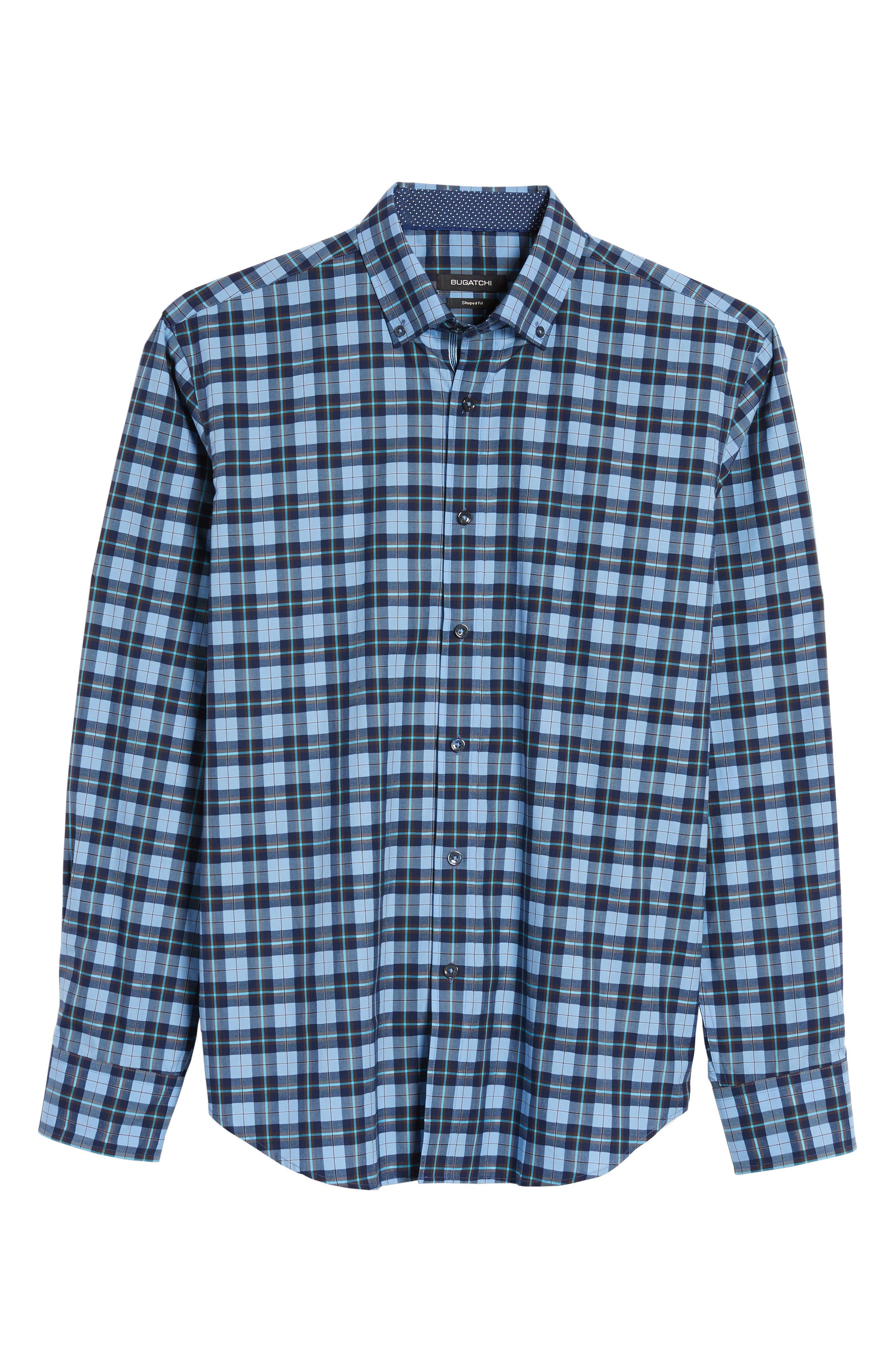Trim Fit Check Sport Shirt,                             Alternate thumbnail 6, color,                             459
