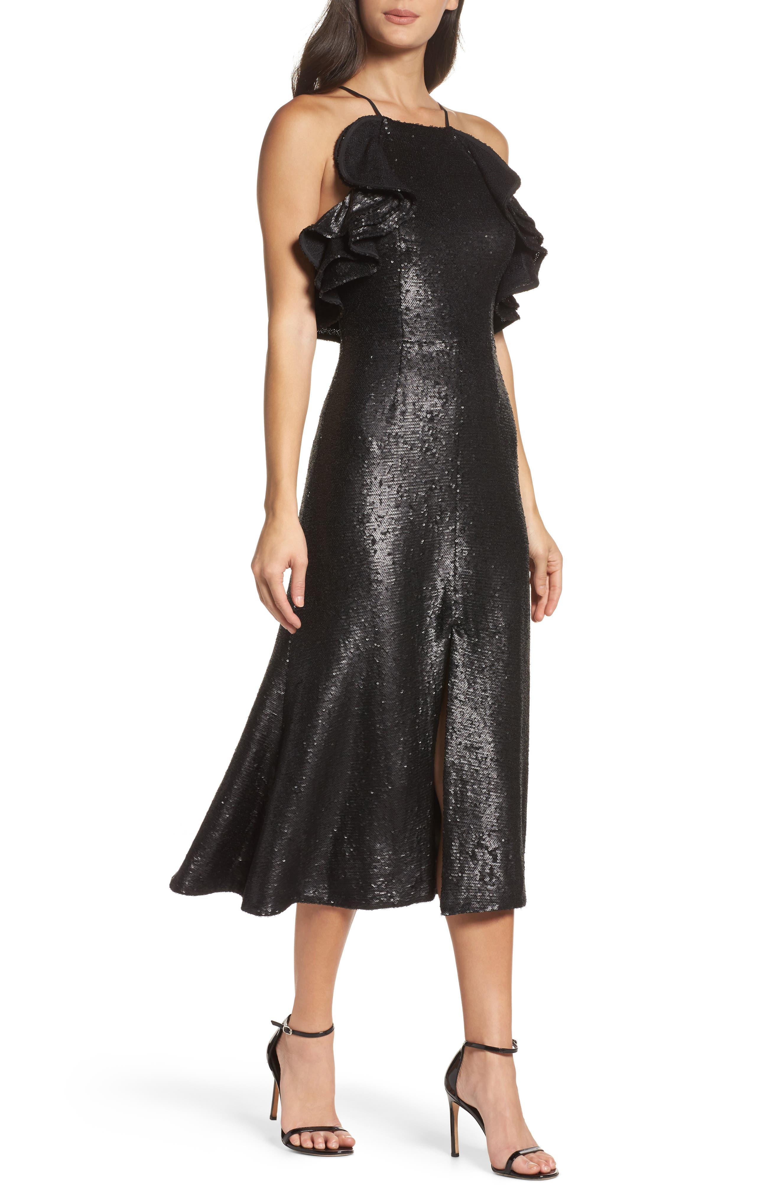 Illuminated Sequin Ruffle Midi Dress,                             Main thumbnail 1, color,                             001