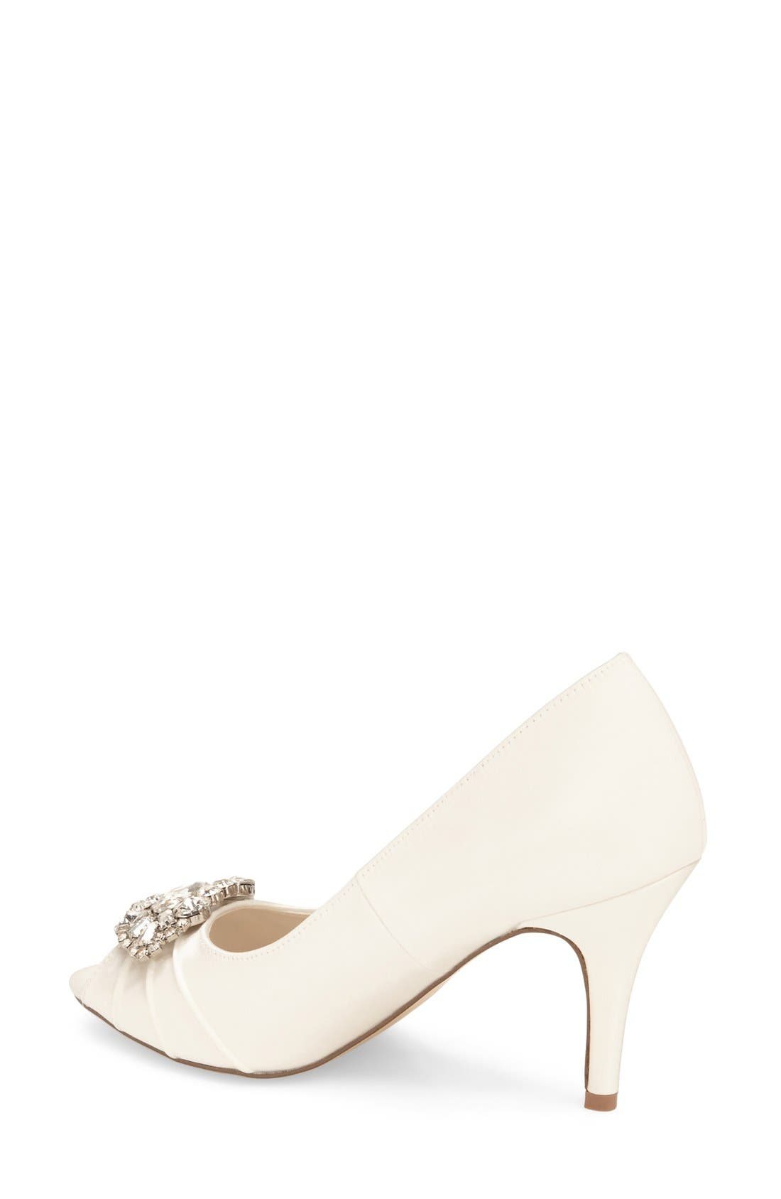 'Tender' Open Toe Pump,                             Alternate thumbnail 6, color,                             IVORY SATIN
