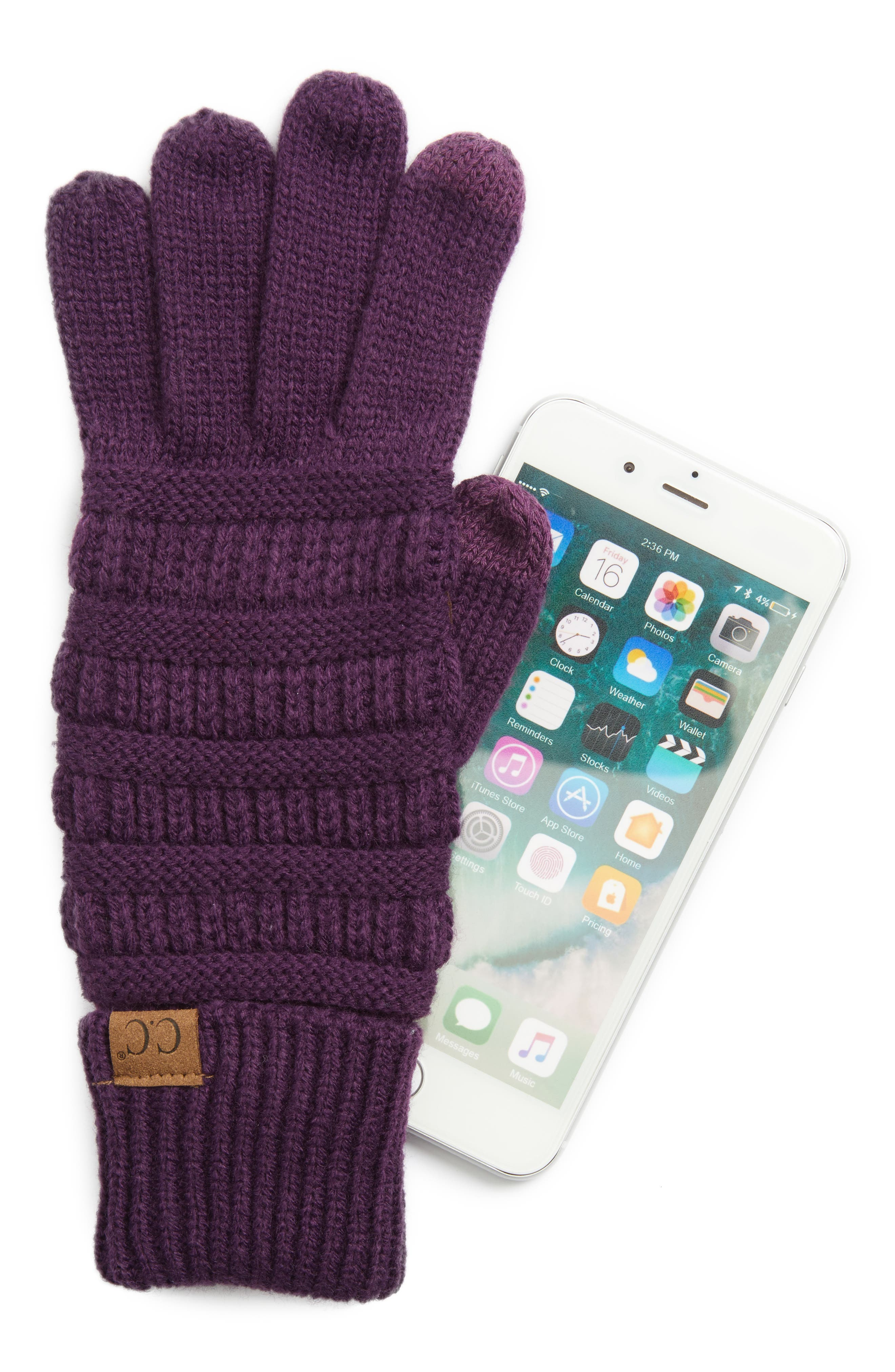 Rib Knit Tech Gloves,                             Alternate thumbnail 13, color,