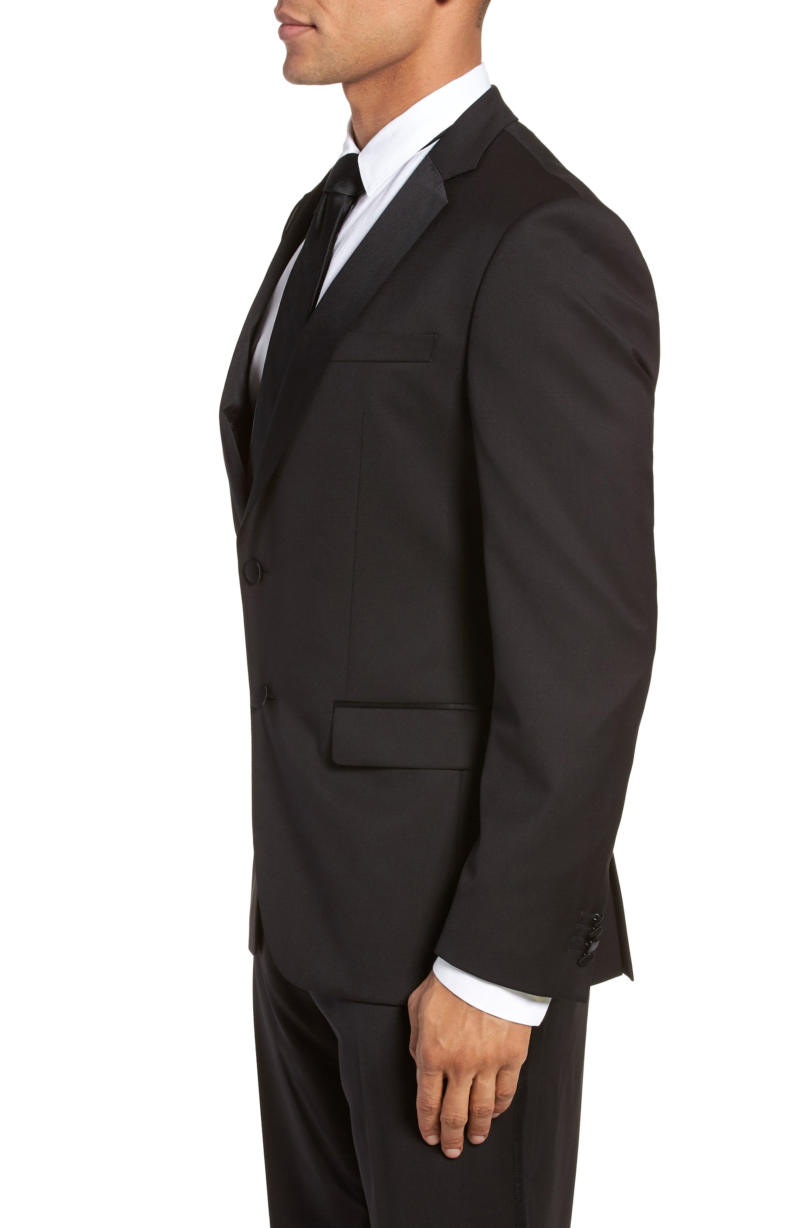 Hence CYL Trim Fit Wool Dinner Jacket,                             Alternate thumbnail 3, color,                             BLACK