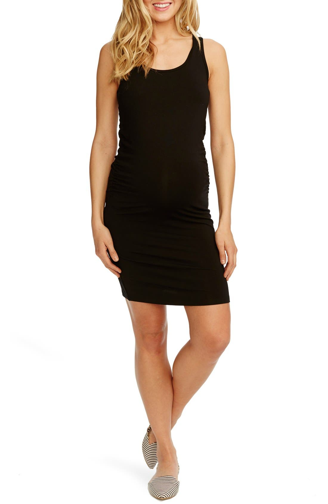 'Kimberly' Ruched Side Maternity Tank Dress,                             Main thumbnail 1, color,                             BLACK