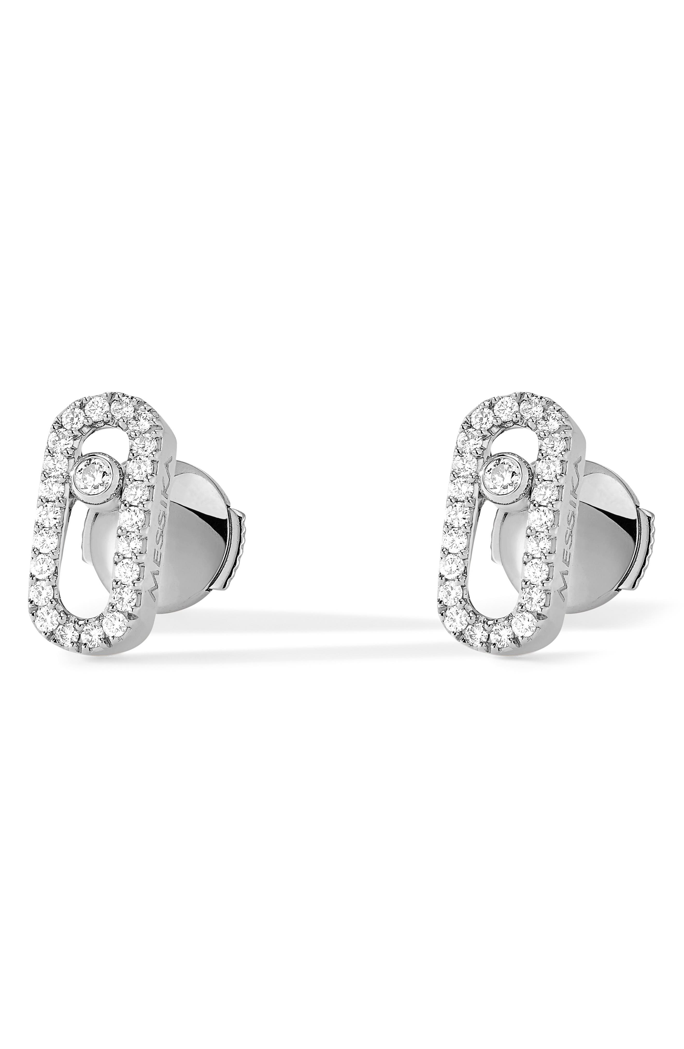 Move Uno Pavé Diamond Stud Earrings,                             Main thumbnail 1, color,                             WHITE GOLD