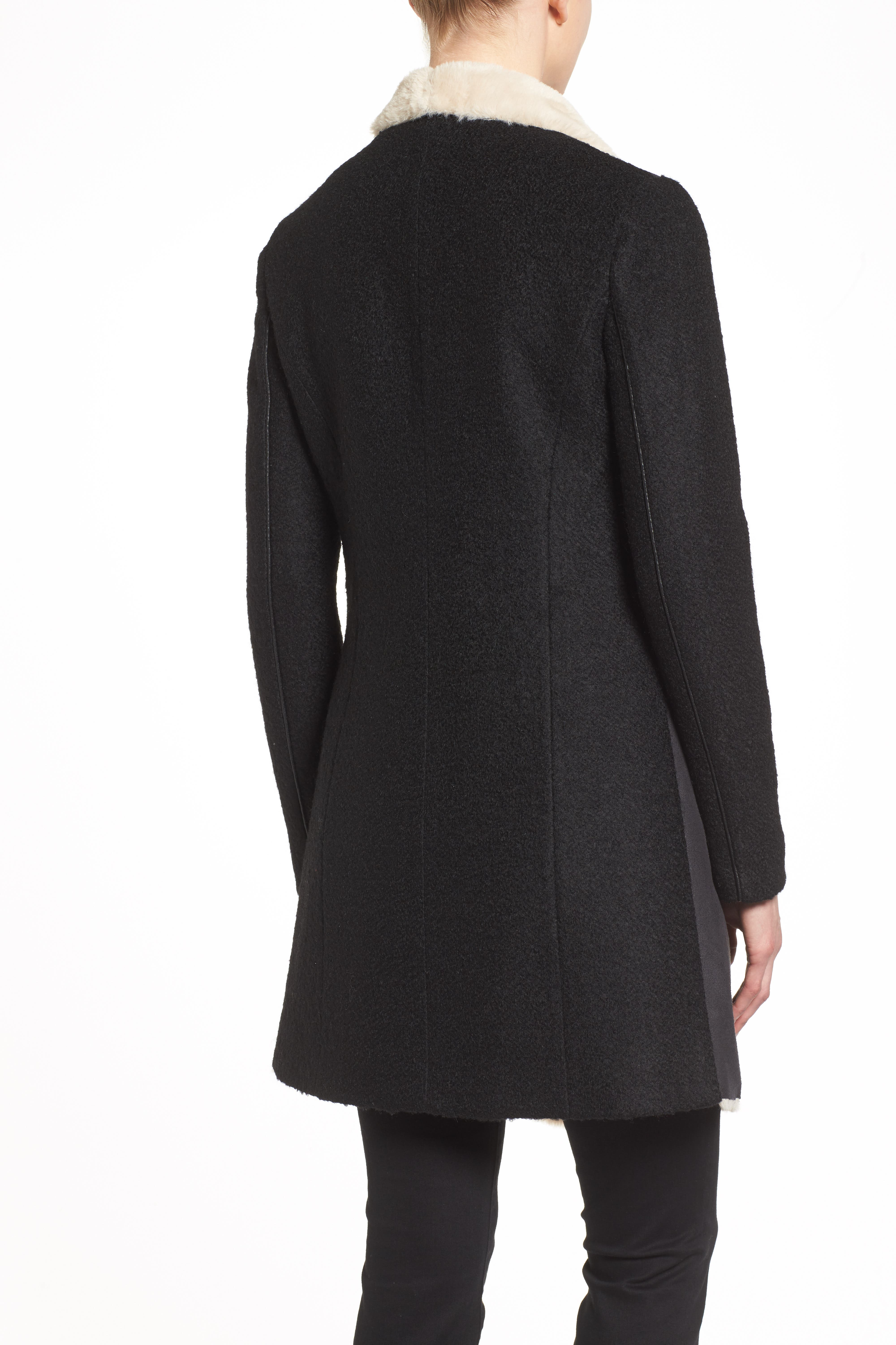 Mixed Media Coat with Faux Shearling Front,                             Alternate thumbnail 6, color,                             001