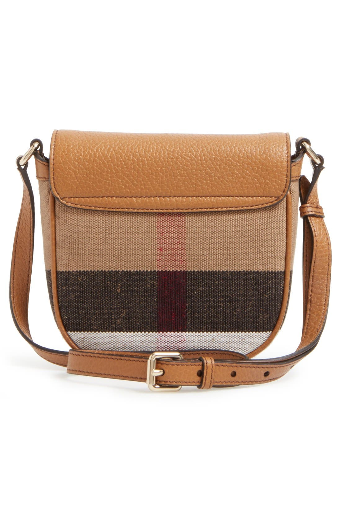 BURBERRY,                             Canvas Check & Leather Crossbody Bag,                             Alternate thumbnail 2, color,                             251