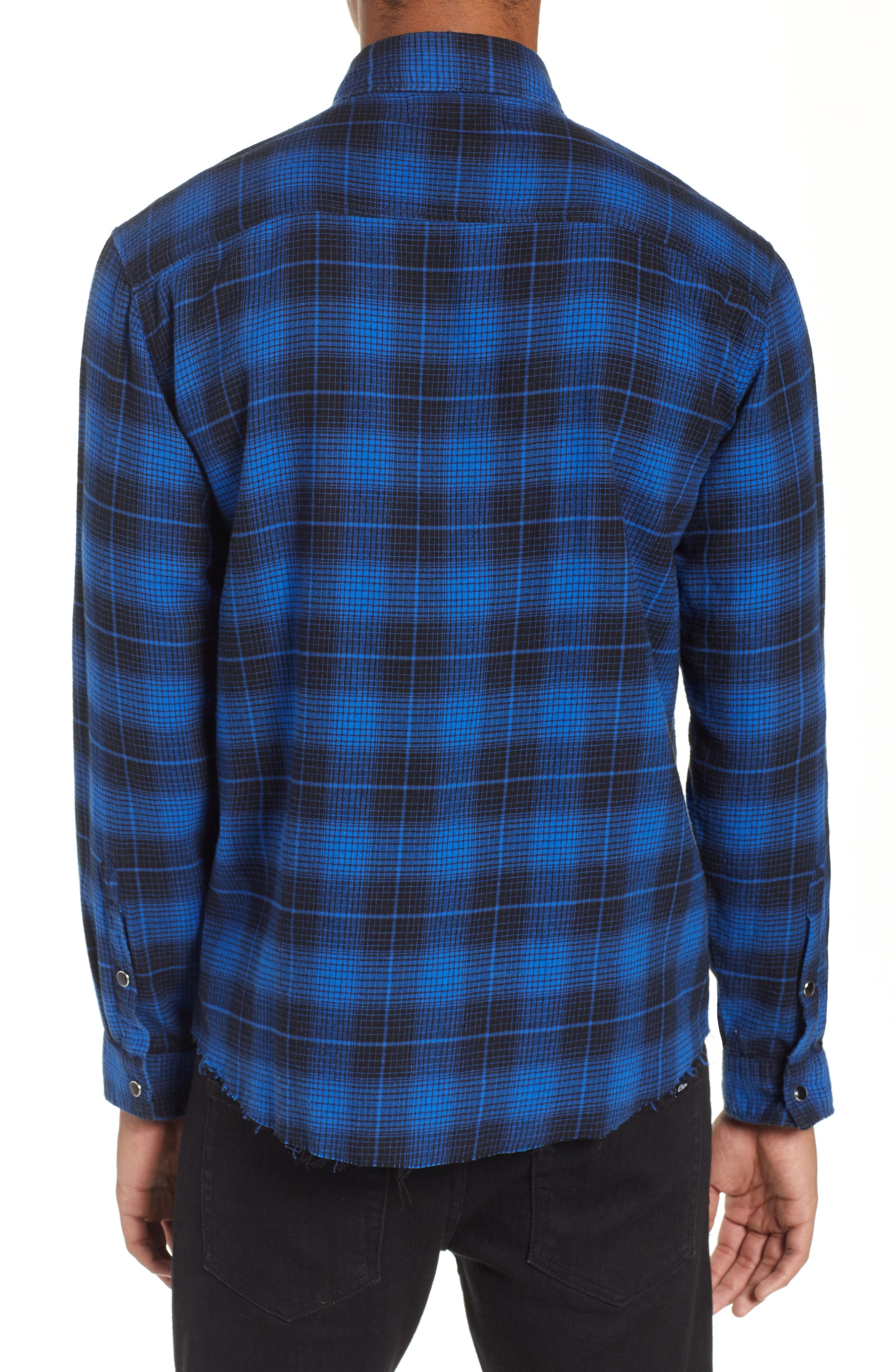 THE KOOPLES,                             Plaid Flannel Shirt,                             Alternate thumbnail 3, color,                             ROYAL BLUE / BLACK