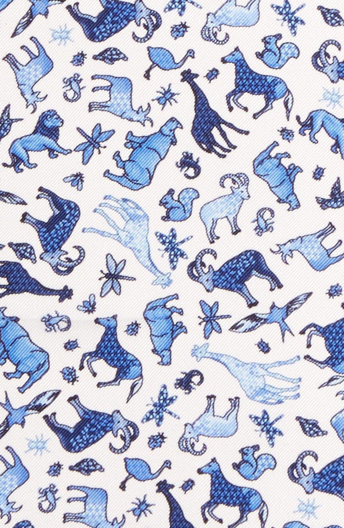 ETON,                             Animal Print Silk Pocket Square,                             Alternate thumbnail 2, color,                             400