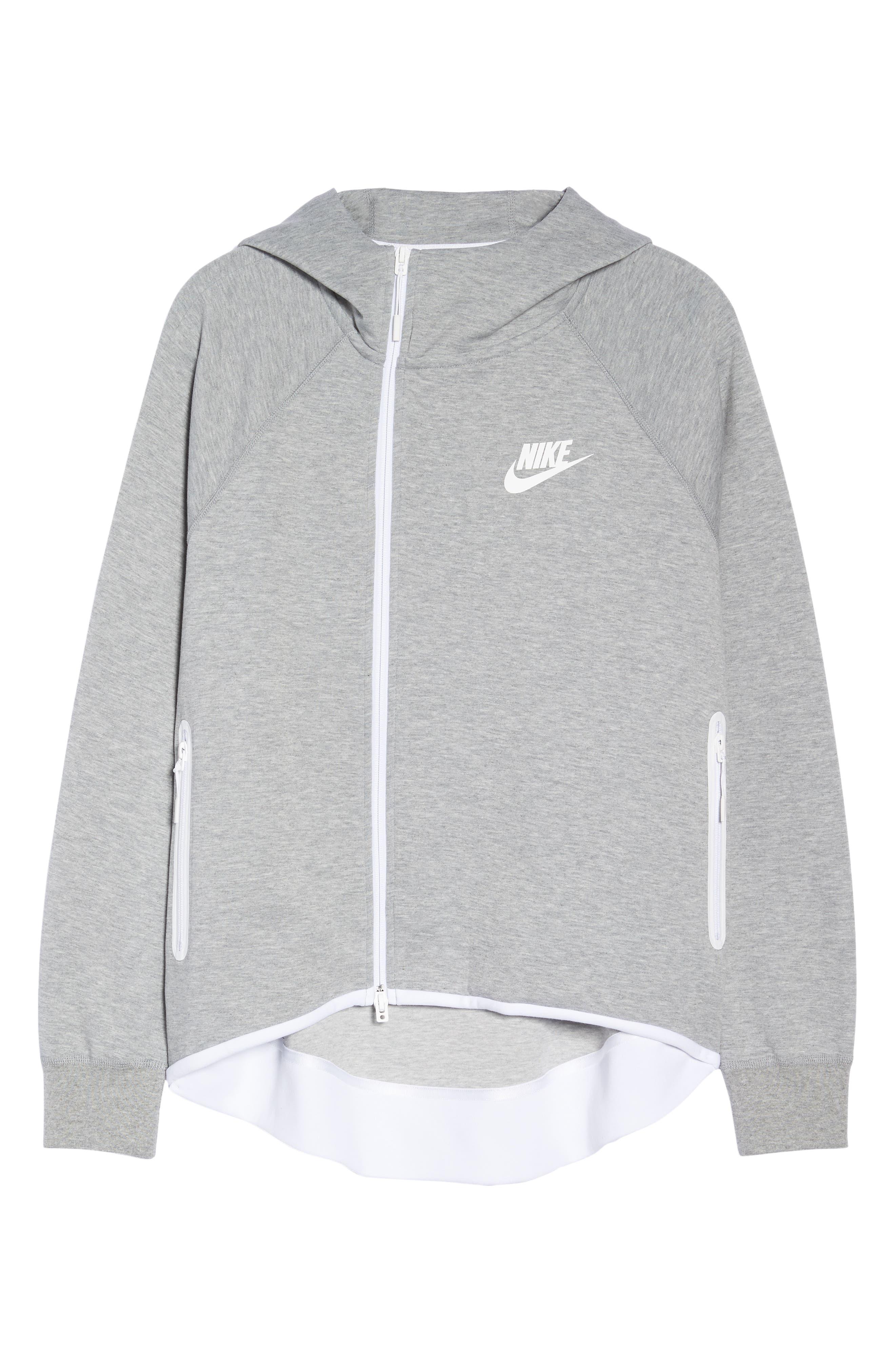 Sportswear Tech Fleece Cape Jacket,                             Alternate thumbnail 7, color,                             DARK GREY HEATHER/ WHITE