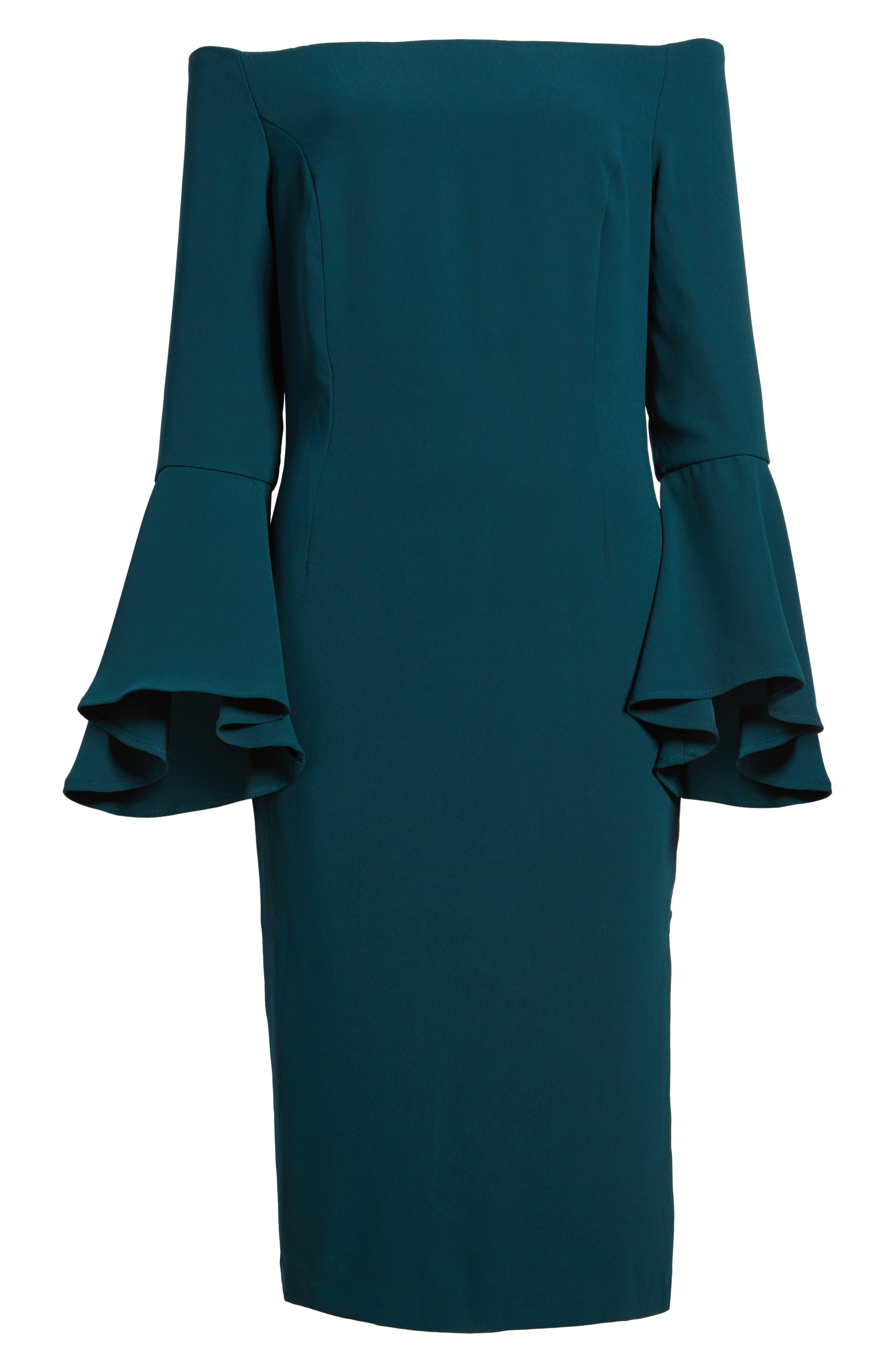 'Solange' Off the Shoulder Midi Dress,                             Alternate thumbnail 7, color,