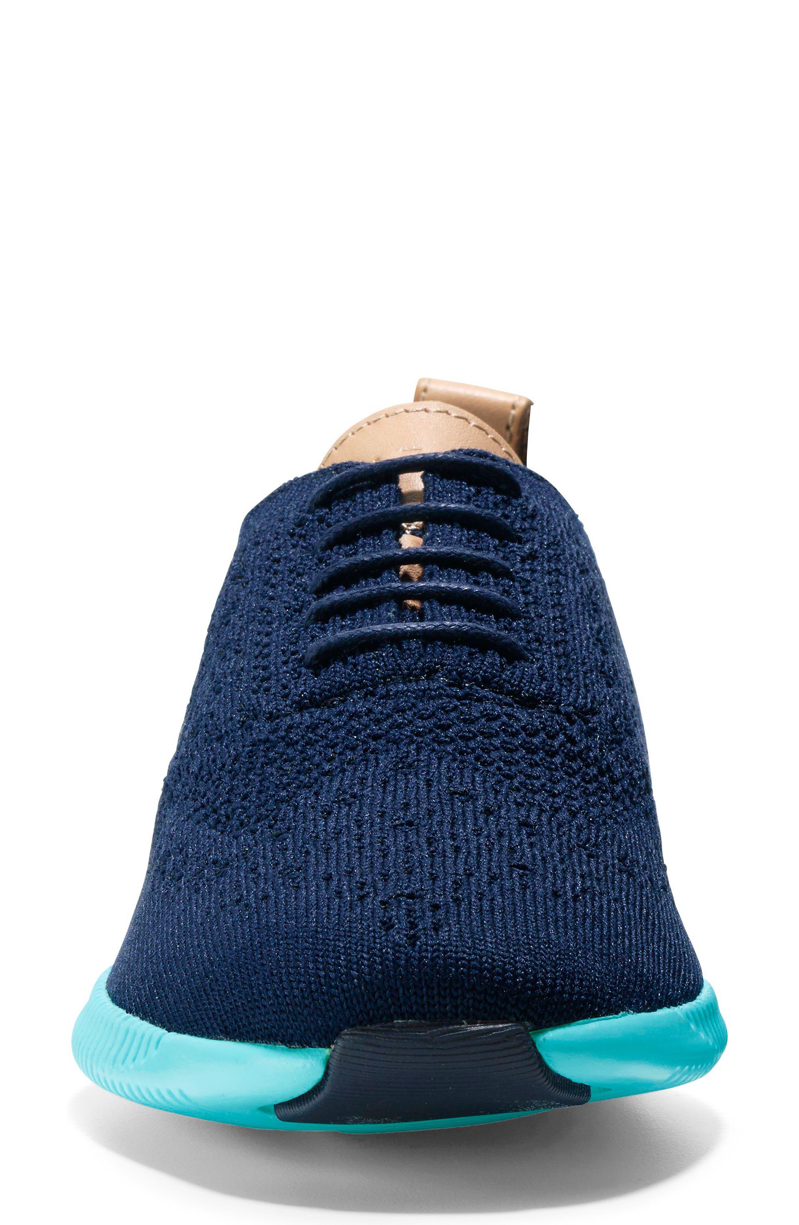 2.ZERØGRAND Stitchlite Wingtip Sneaker,                             Alternate thumbnail 4, color,                             MARINE BLUE/ BLUEFISH FABRIC