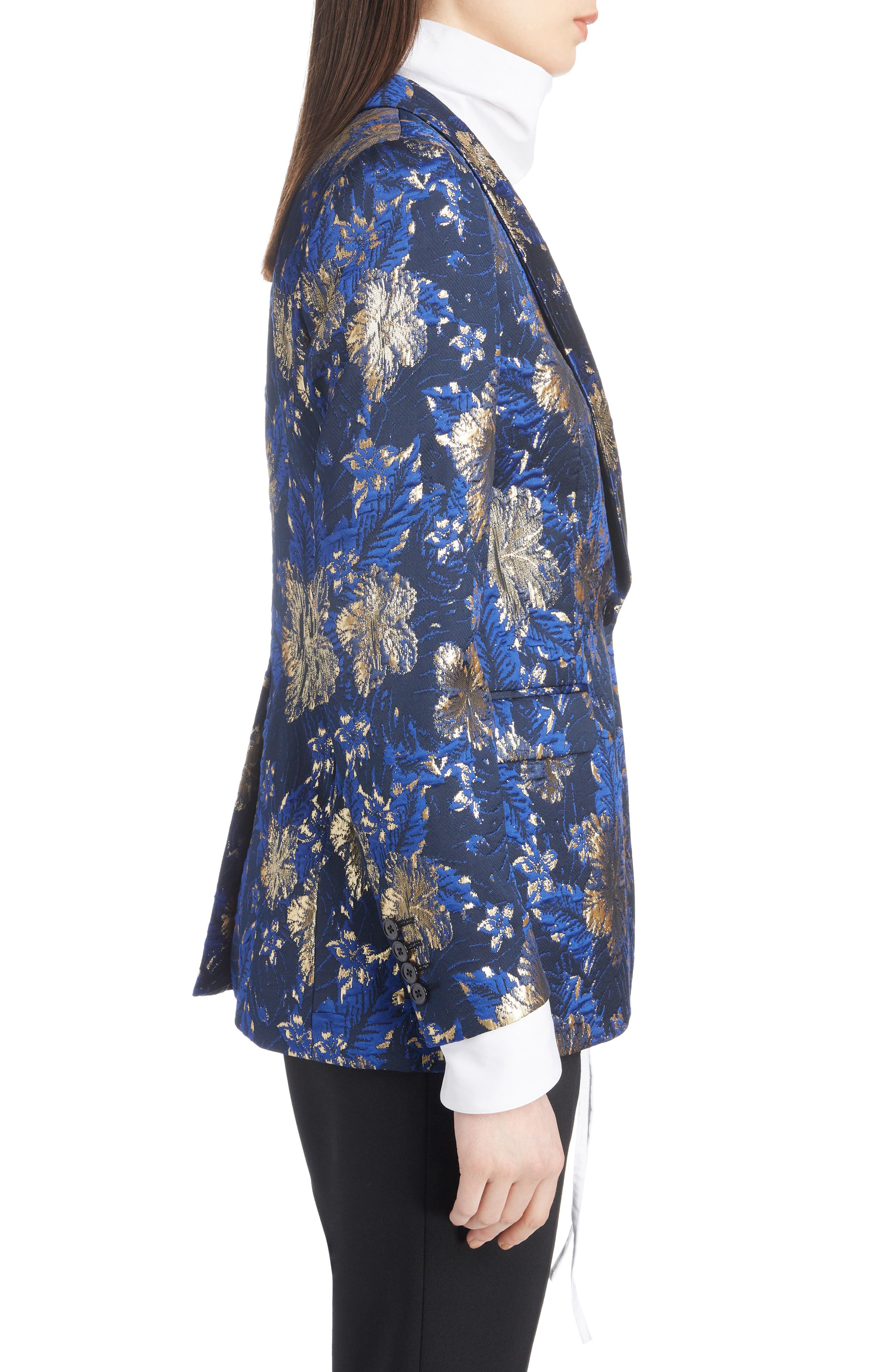 Metallic Floral Jacquard Blazer,                             Alternate thumbnail 3, color,                             BLUE