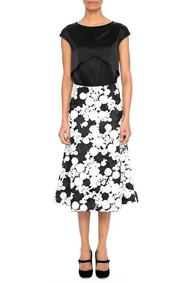 St. John Floral Embroidered Flared Skirt, video thumbnail